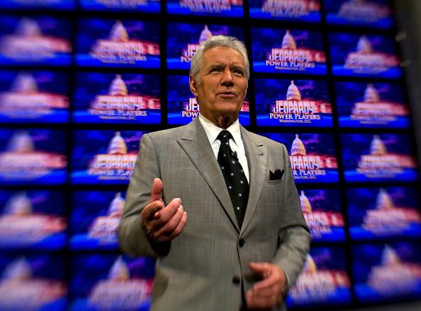 Host Alex Trebek poses on the set of Jeopardy on April 21, 2012.