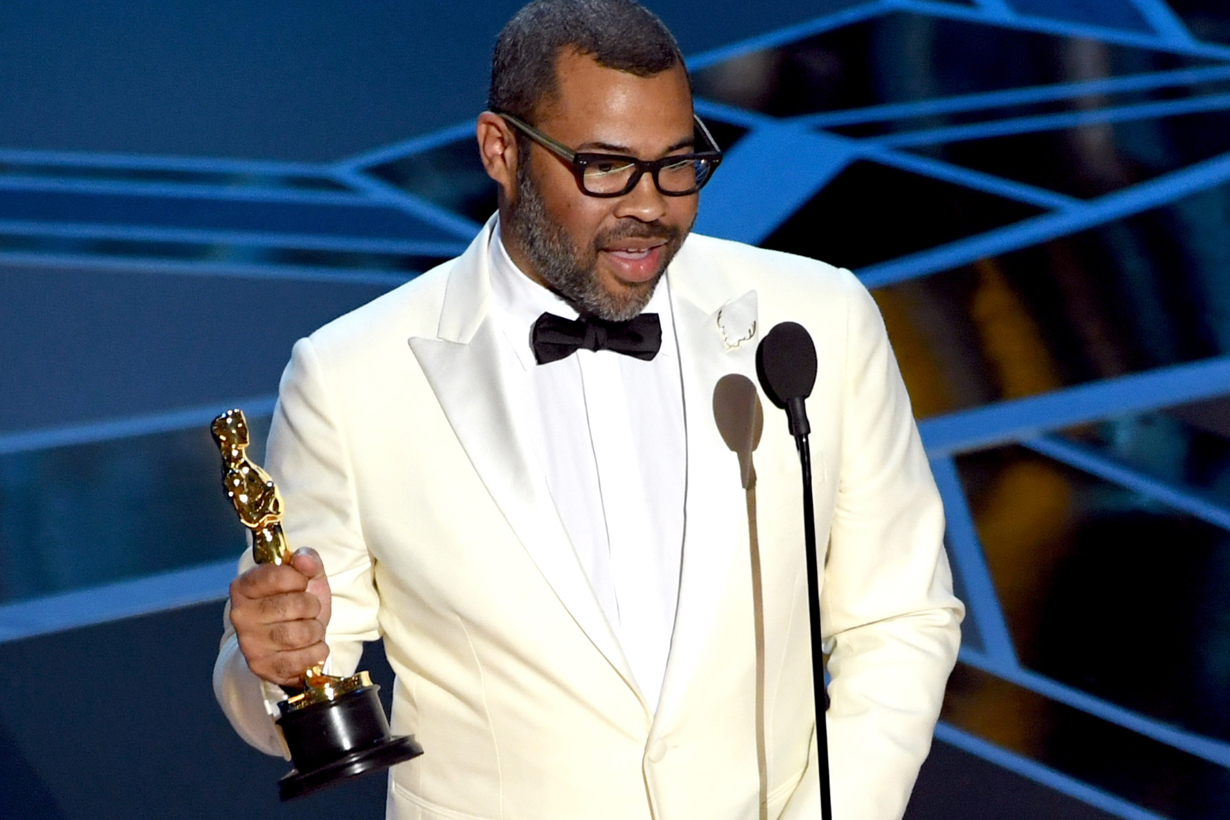 Writer/director Jordan Peele accepts Best Original Screenplay for 'Get Out' onstage during the 90th Annual Academy Awards at the Dolby Theatre at Hollywood & Highland Center on March 4, 2018 in Hollywood.