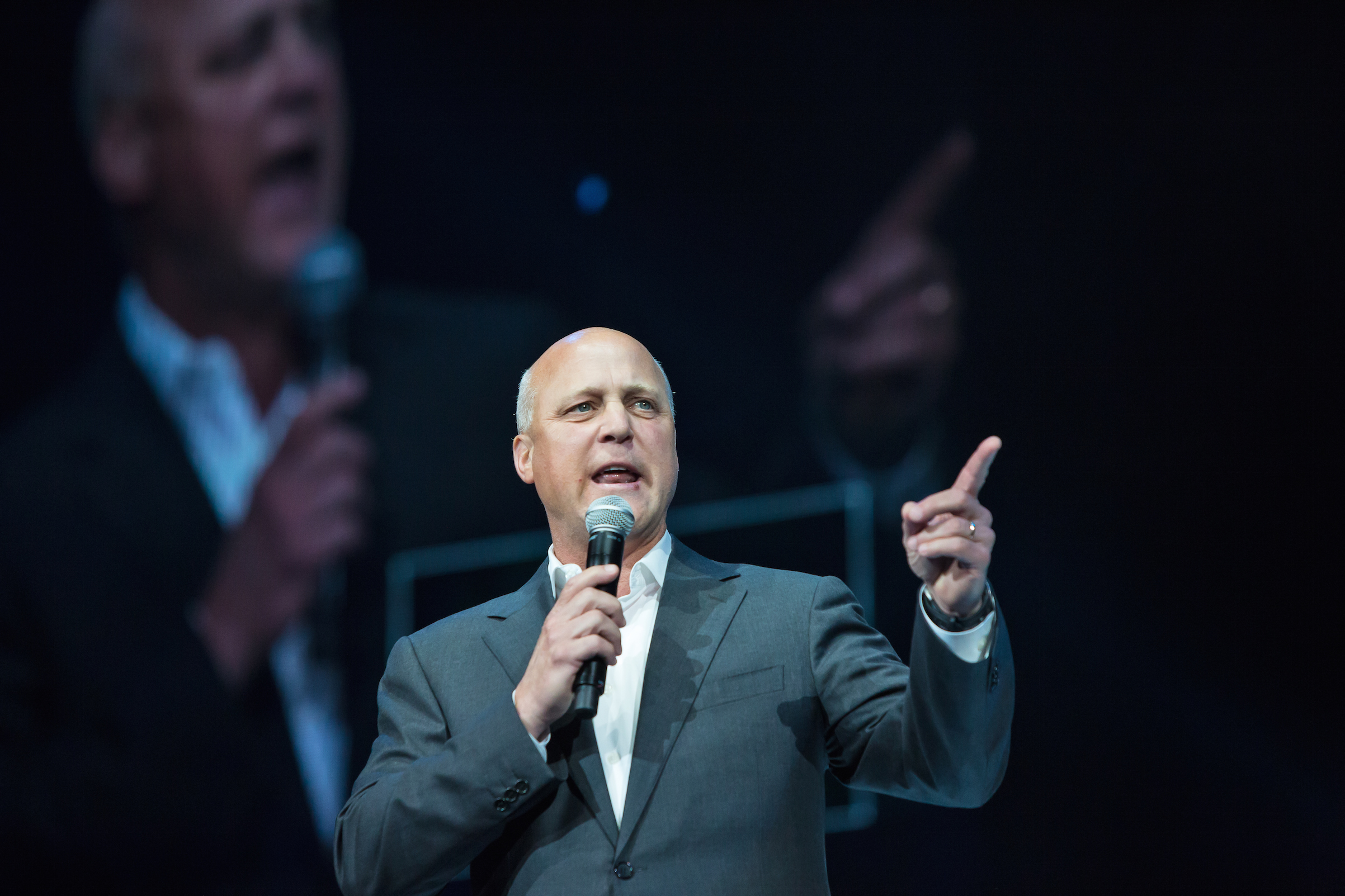 New Orleans Mayor Mitch Landrieu addresses a crowd during an event marking the 10-year anniversary of Hurricane Katrina on Aug. 29, 2015, in New Orleans