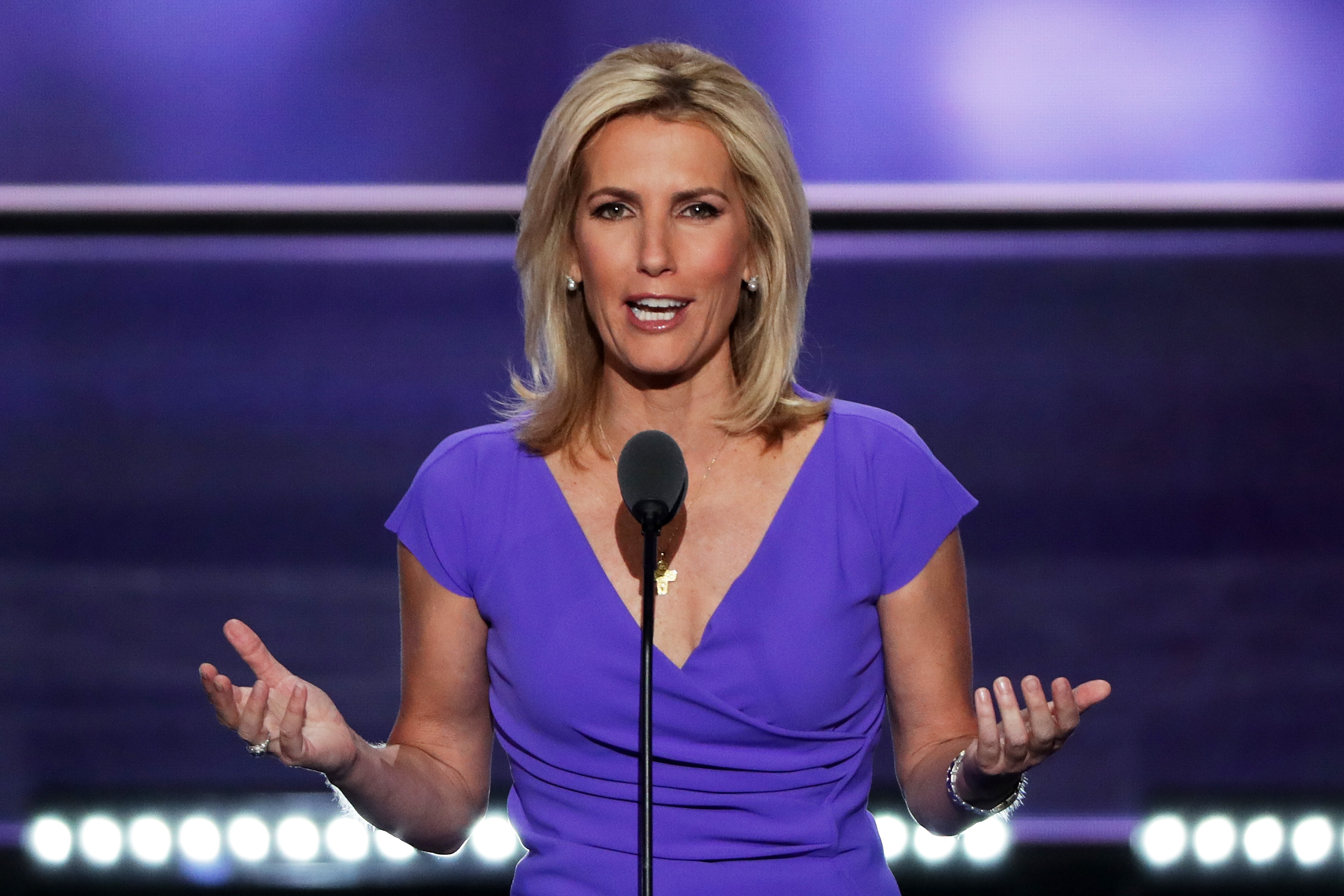 Political talk radio host Laura Ingraham delivers a speech at the Republican National Convention on July 20, 2016 in Cleveland, Ohio.