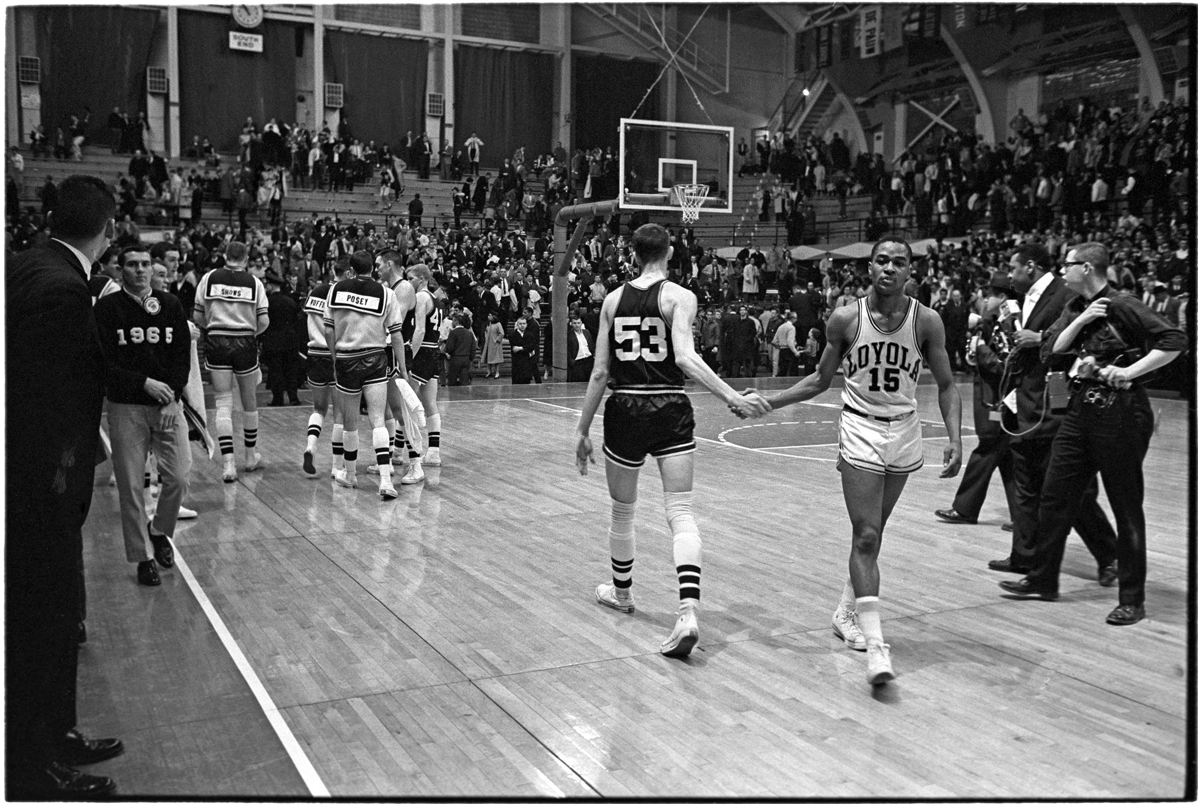 Loyola defeated Mississippi State in the Mideast Regional first round game 61-51 at Jenison Field House in East Lansing, Mich., on March 15, 1963.