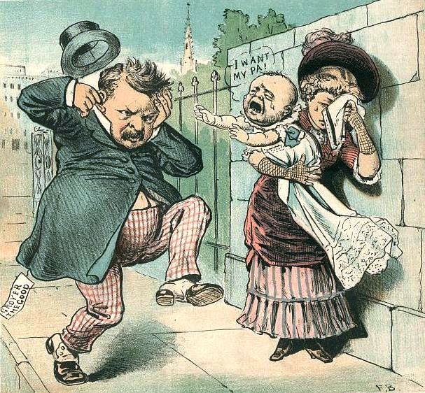 A cartoon in Sep. 27, 1884 The Judge magazine spoofs the news that Grover Cleveland fathered a child out of wedlock.