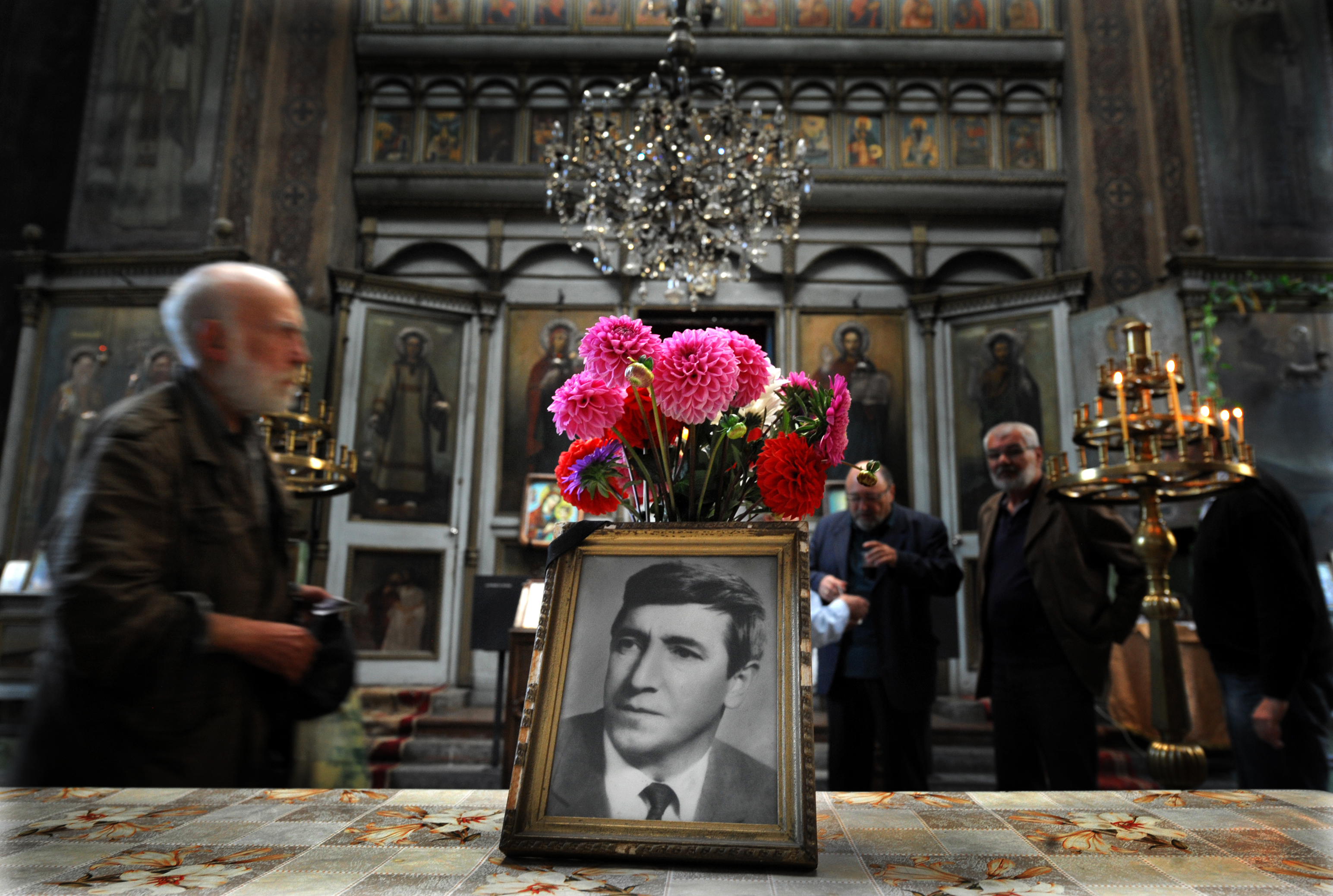 People attend a commemoration service marking 35 years of the dead of Georgi Markov, a bulgarian disident killed in London in 1978, in a church in Sofia on September 11, 2013. Bulgaria is set to close a 35-year probe into the spectacular  umbrella killing  of dissident Georgy Markov in London in 1978, the prosecution in Sofia said Monday. Markov's murder has gone down as one of the most daring and extraordinary crimes of the Cold War. The prominent journalist and playwright fled communist Bulgaria in 1969 for Britain but continued to lambast the regime in reports for the BBC and Radio Free Europe.