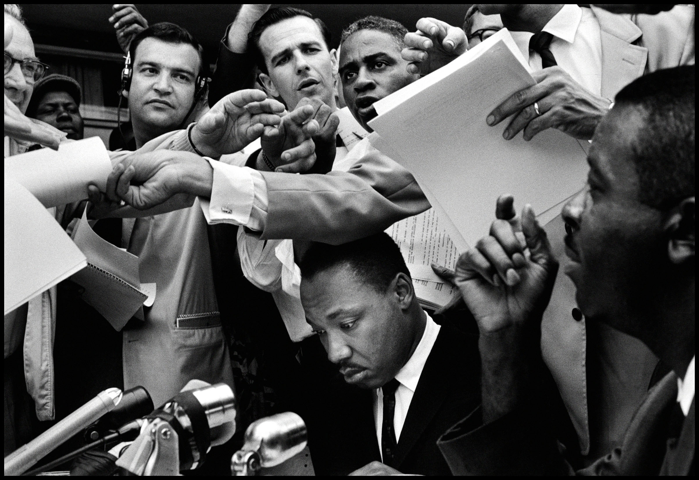 Martin Luther King Jr. attends a press conference in Alabama in 1963