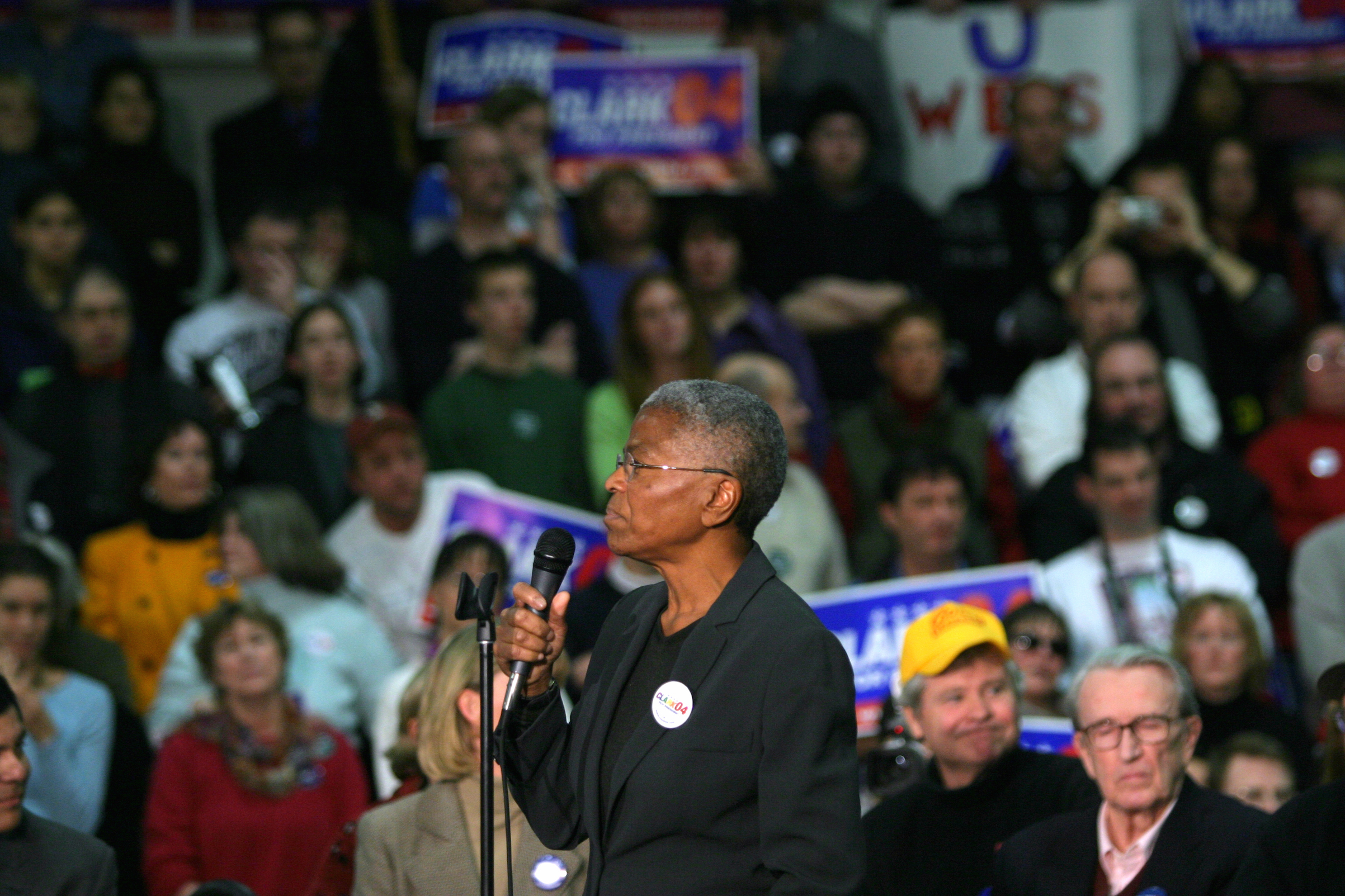 Mary Frances Berry, as Chairperson of the U.S. Commission on Civil Rights, addresses a supporters at a Democratic presidential rally in 2004.