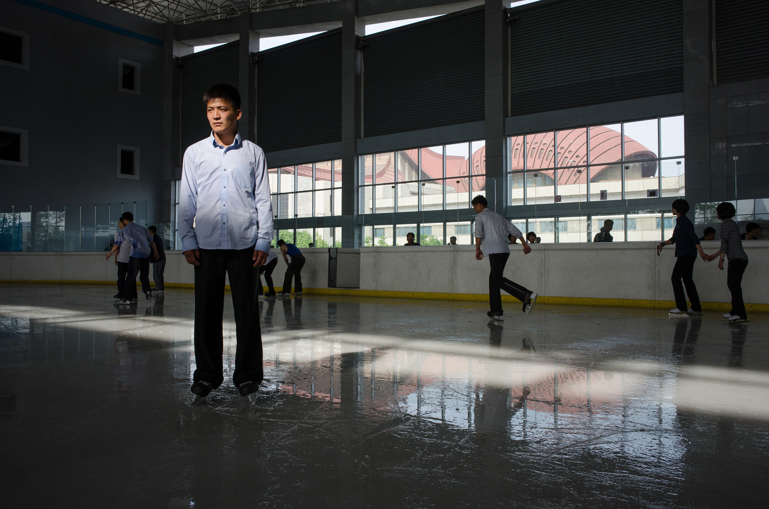 Ri Yong Min, 21, a boxing champion, at an outdoor ice rink in 2014.