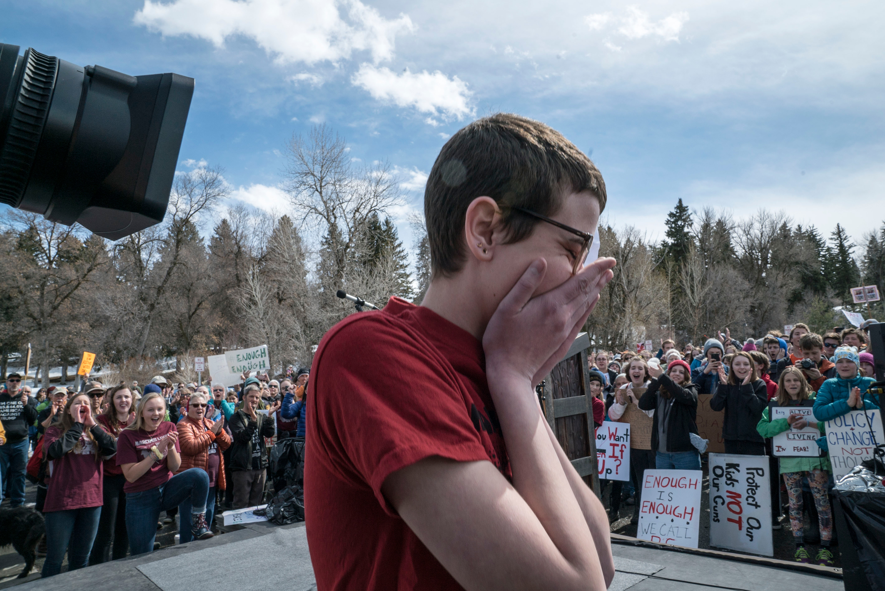 Bozeman High School freshman Timea Laatsch became emotional after speaking to the crowd.