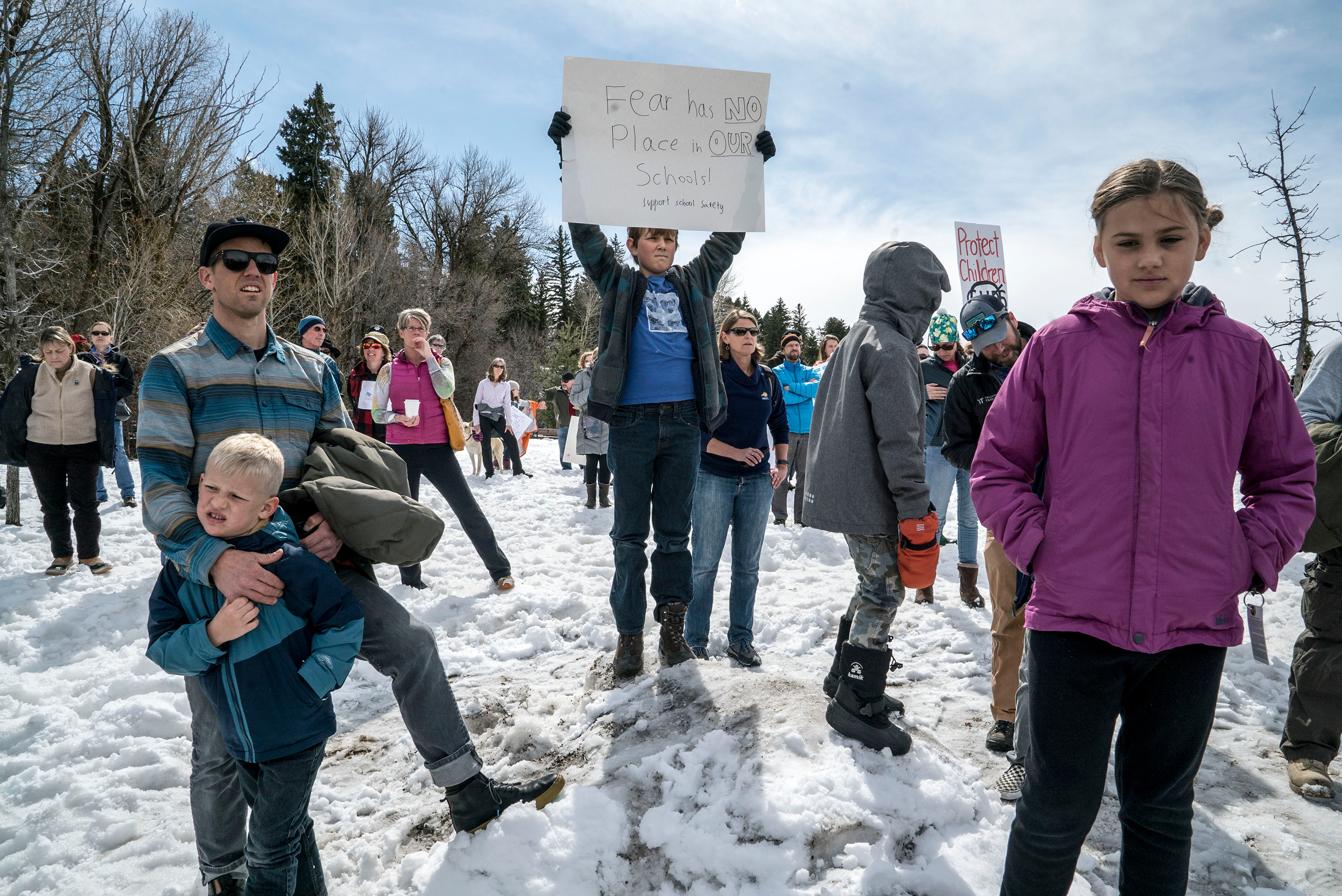 The march in Bozeman, Montana, began at the Gallatin County Courthouse and went to the lawn of the Bozeman Public Library, where speeches were delivered by community members and students.