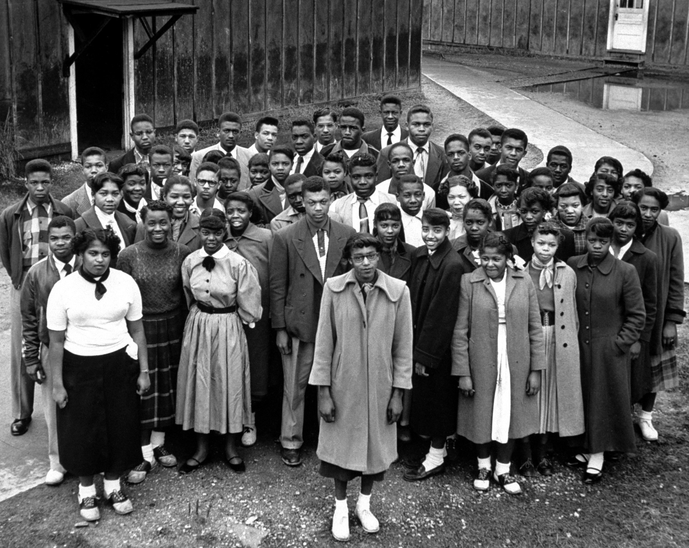 Group portrait of some of the more than 100 students named in the lawsuit filed to seek, initially, repairs for Robert Moton High School, a segregated school in Farmville, Va., March 1953.