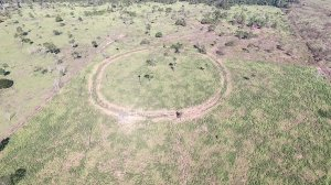 An aerial photo shows an earthwork about located in the Upper Tapajos Basin of Mato Grosso Brazil.