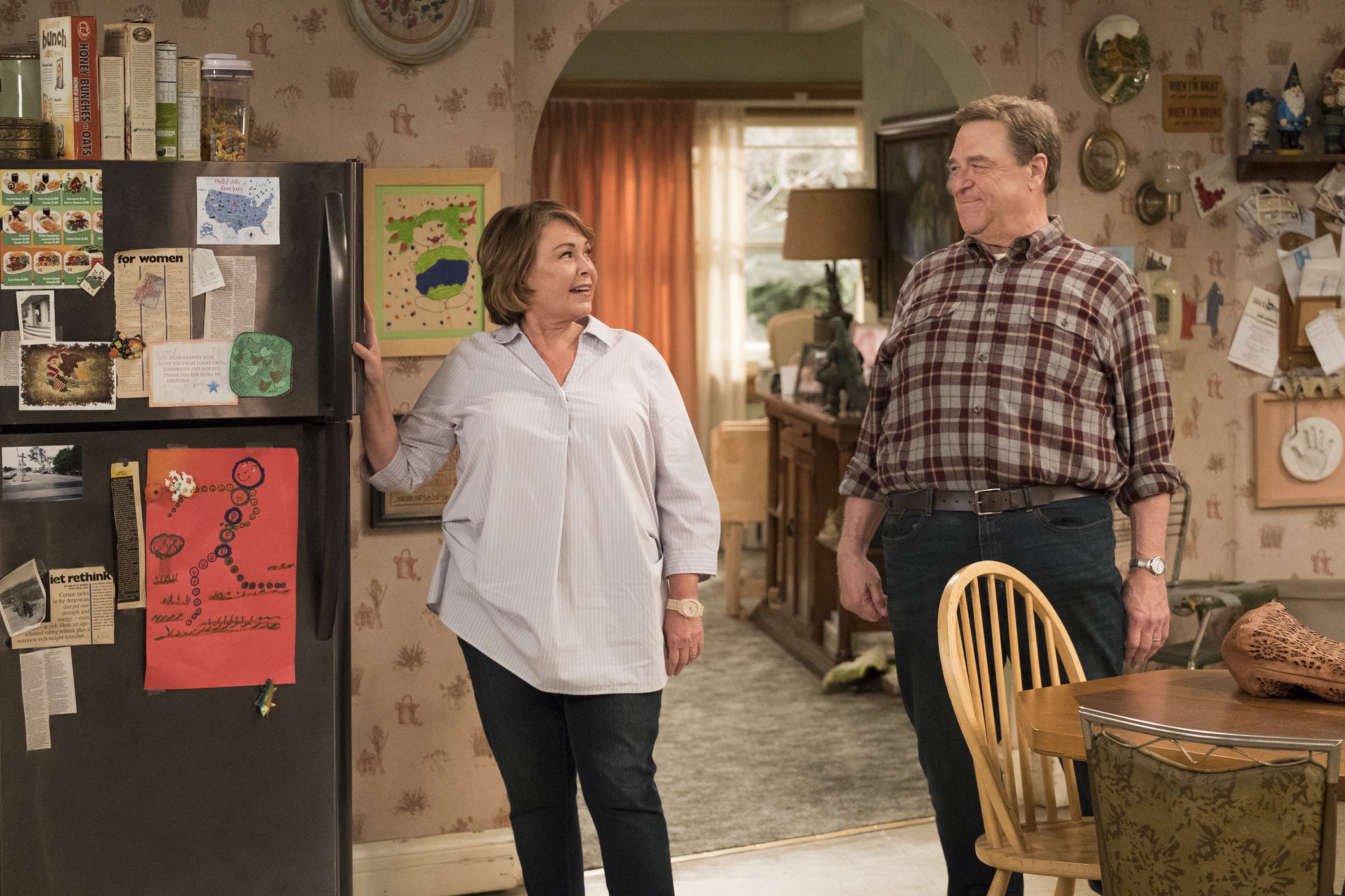 Roseanne's clash with Darlene over how she's raising her kids - especially Harris - reaches a breaking point; while Dan tries to help Roseanne with her bad knee by getting her an elevator chair, which she refuses to use because she doesn't want to admit getting old, on the second episode of the revival of  Roseanne,  on The ABC Television Network.