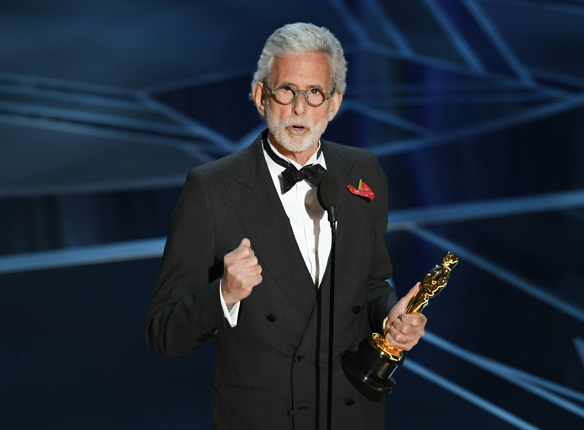 Filmmaker Frank Stiefel accepts Best Documentary - Short Subject for 'Heaven Is a Traffic Jam on the 405' onstage during the 90th Annual Academy Awards at the Dolby Theatre at Hollywood & Highland Center on March 4, 2018 in Hollywood.