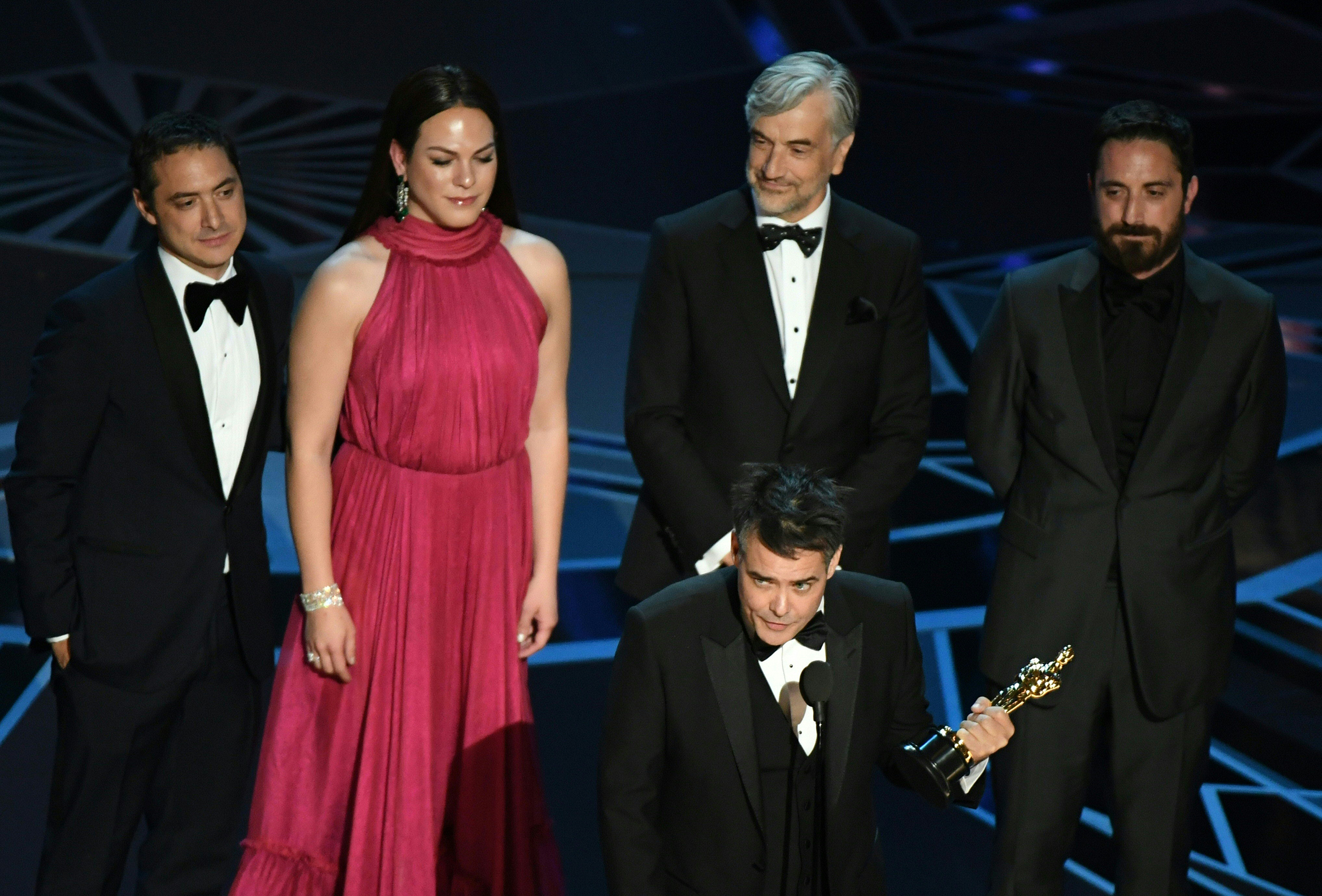 Chilean director Sebastian Lelio delivers a speech after he won the Oscar for Best Foreign Language Film for  A Fantastic Woman  during the 90th Annual Academy Awards show on March 4, 2018 in Hollywood.