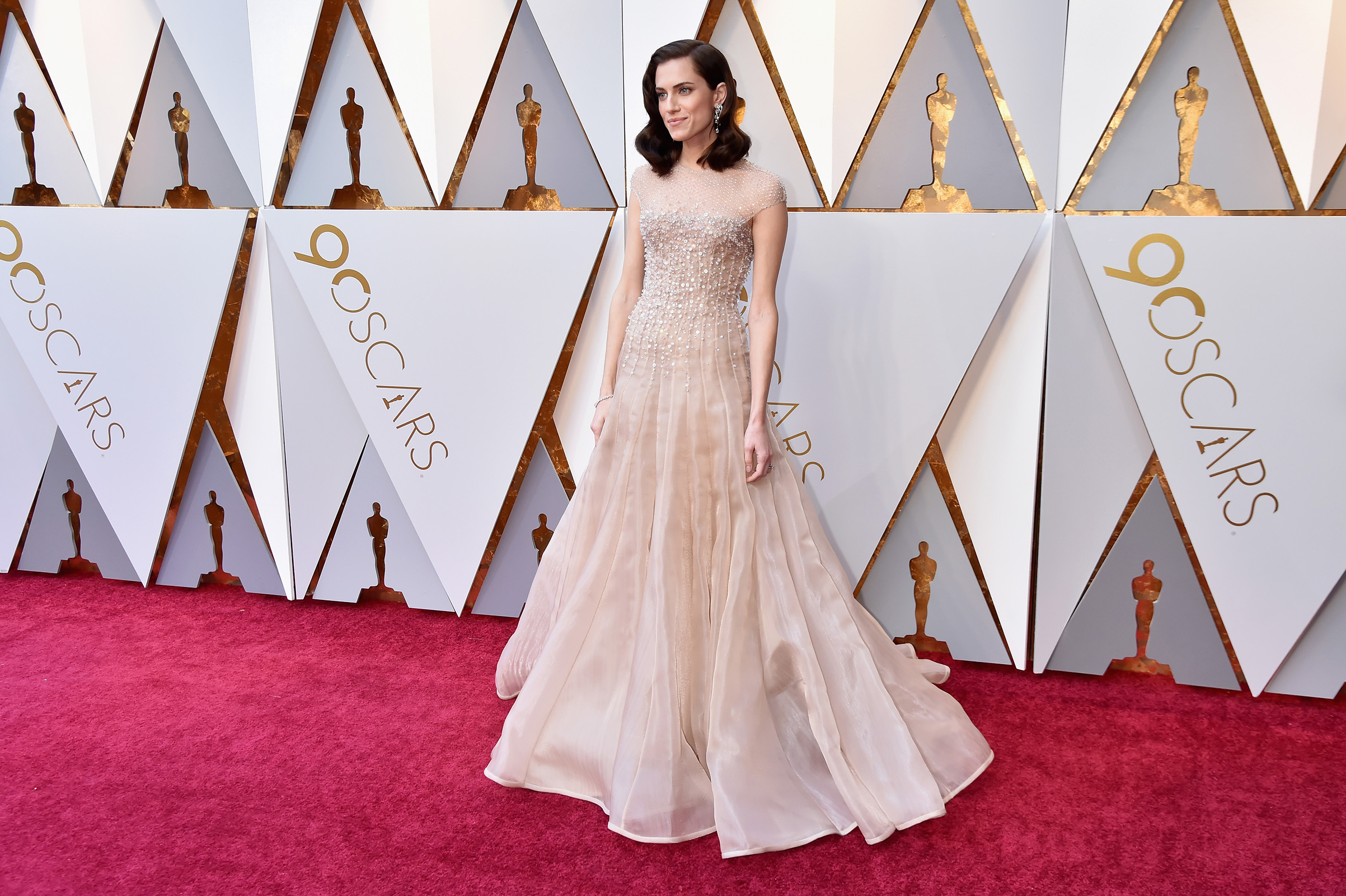 Allison Williams attends the 90th Annual Academy Awards in Hollywood.