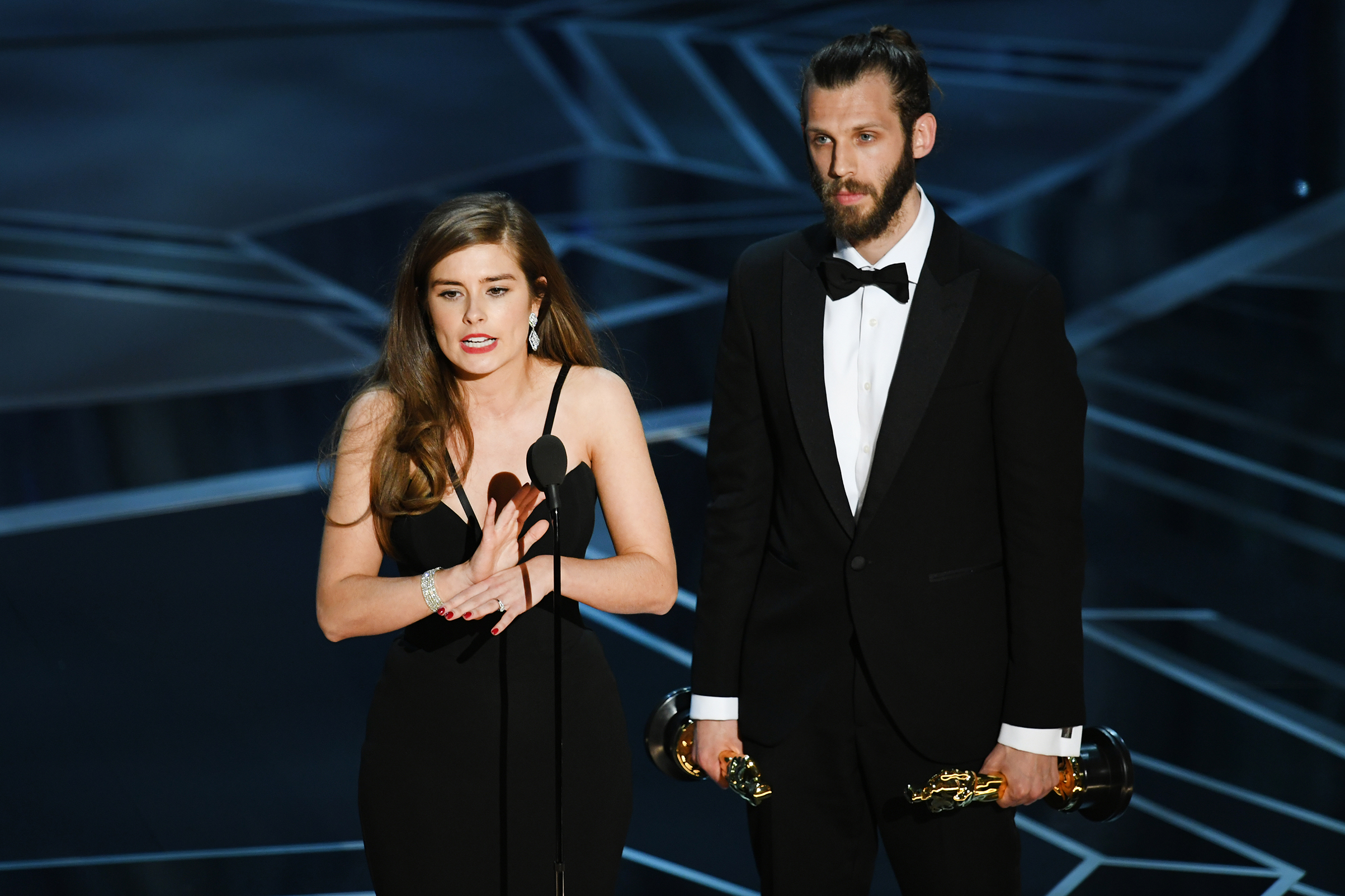 Filmmakers Rachel Shenton (L) and Chris Overton accept Best Live Action Short Film for 'The Silent Child' onstage during the 90th Annual Academy Awards at the Dolby Theatre at Hollywood & Highland Center on March 4, 2018 in Hollywood.