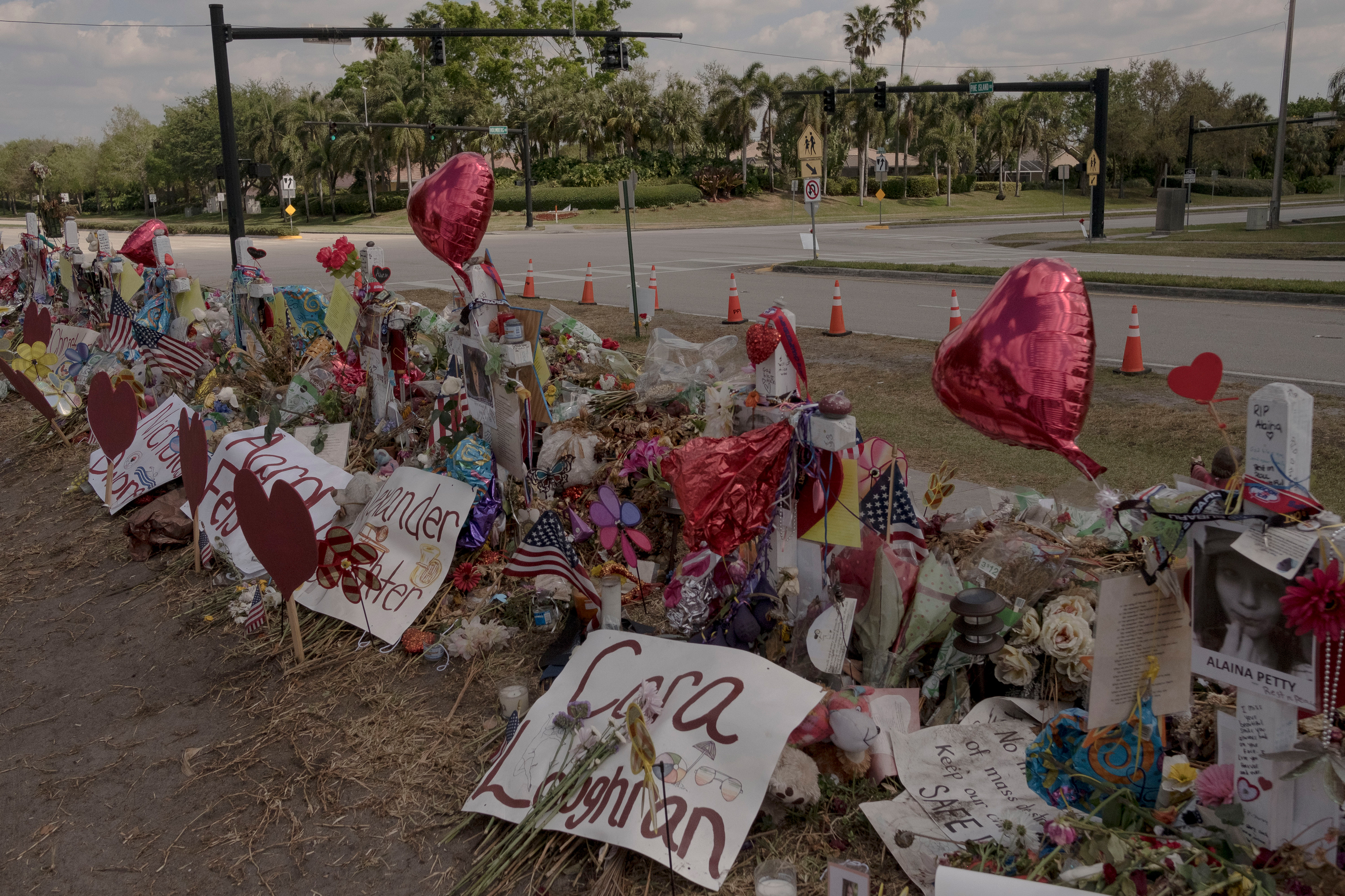 A memorial is left in front of Marjory Stoneman Douglas High School for the victims of the school shooting in Parkland, Florida on March 6, 2018.