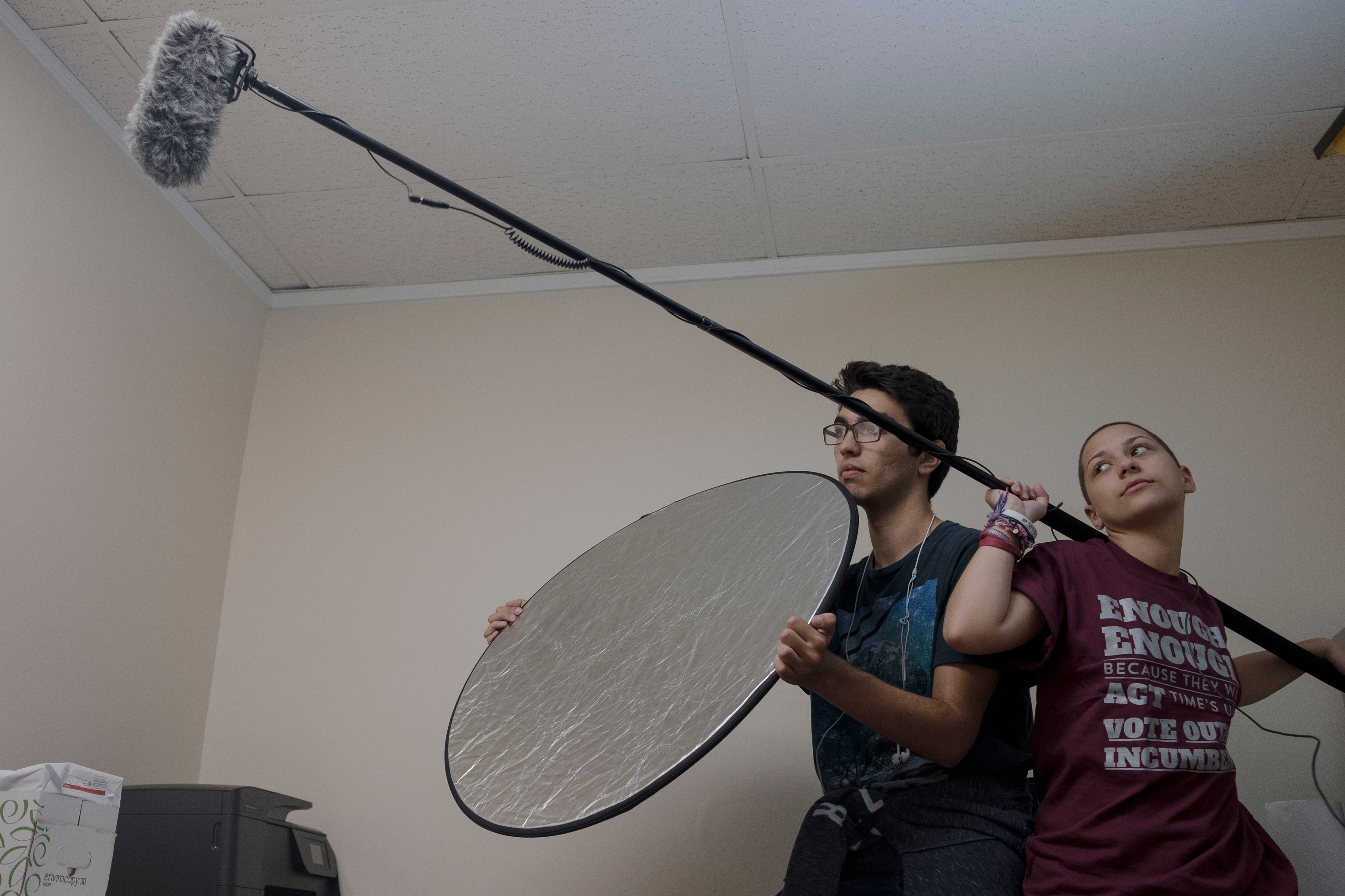 Diego Pfeiffer and Emma González record a video with their colleagues in response to the NRA's hourglass video.
