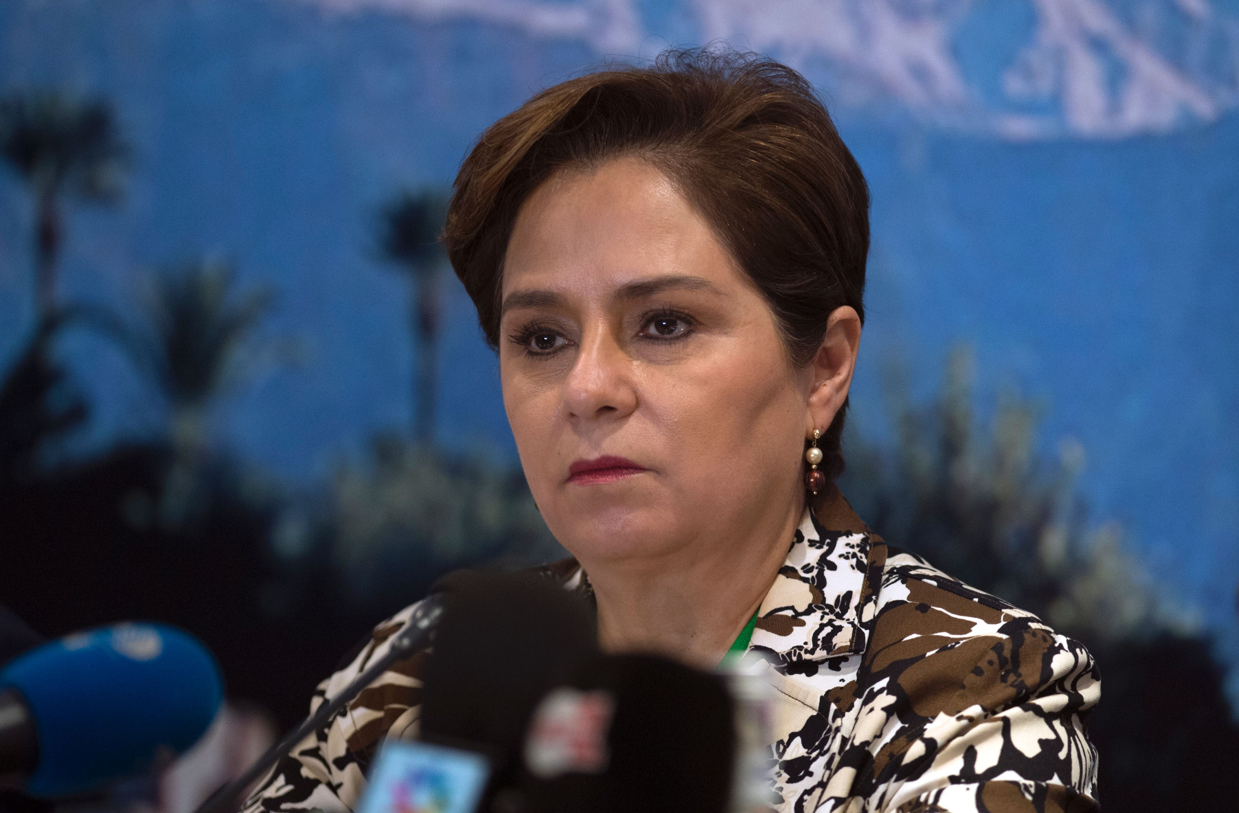 Patricia Espinosa, Executive Secretary of the United Nations Framework Convention on Climate Change (UNFCCC), speaks during a press conference ahead of the COP22 meeting in Marrakesh in 2016.