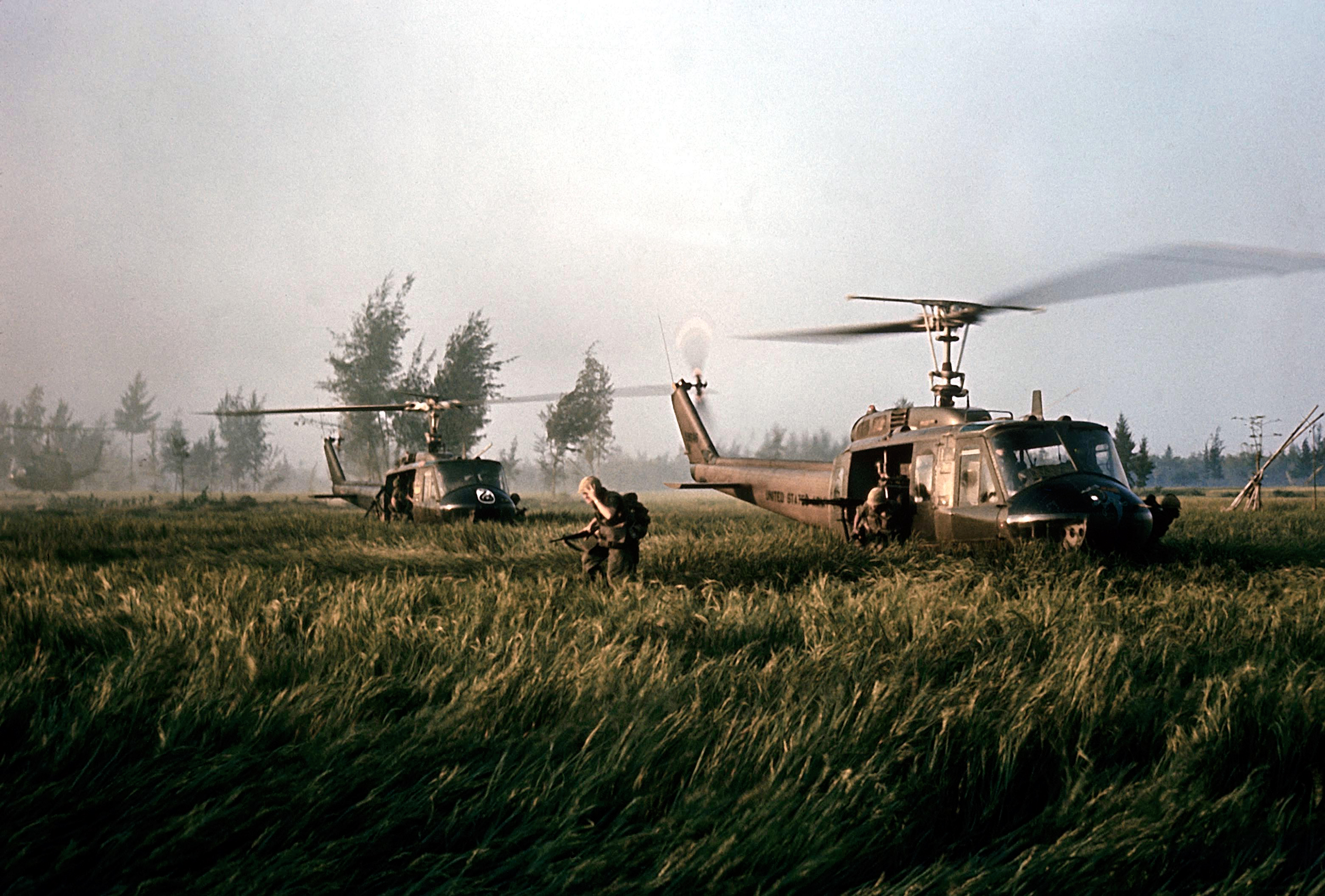 The American helicopters that brought Company C soldiers to My Lai for the assault.