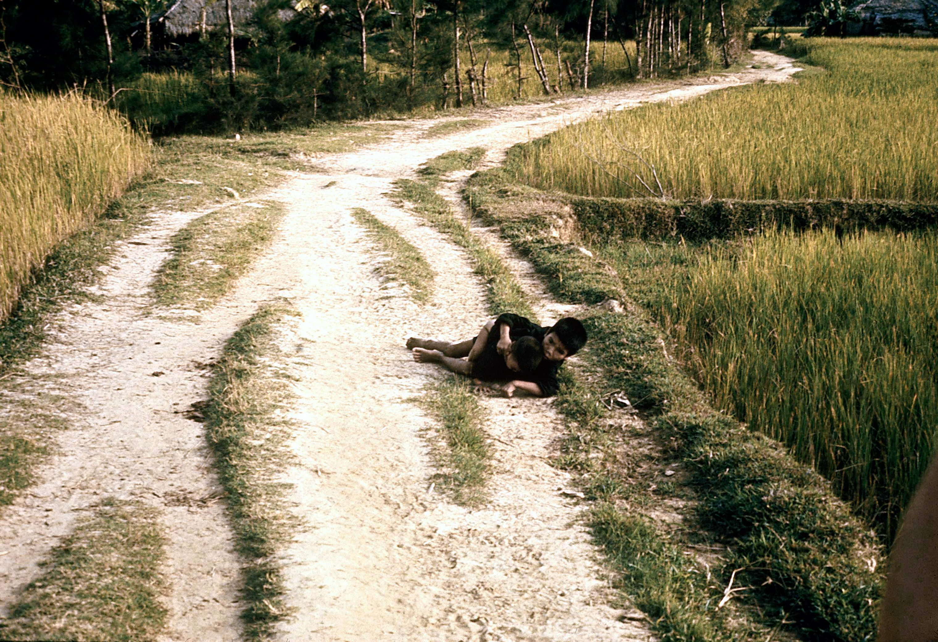 Two Vietnamese children on a road before they were shot by U.S. soldiers on March 16, 1968.