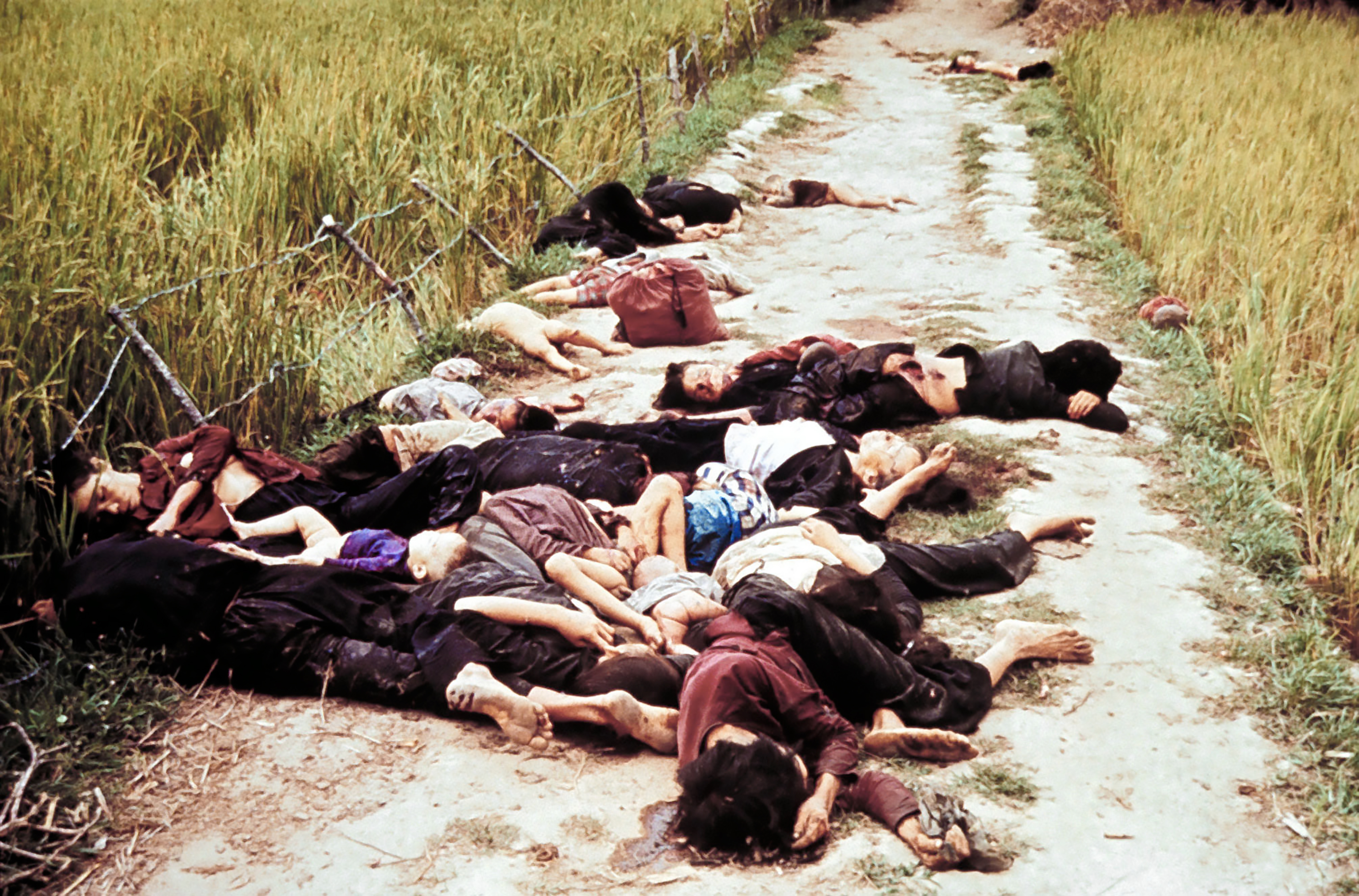 When this photo ran in LIFE, the caption noted that Haeberle  found the bodies above on a road leading from the village.  This image later appeared on the front page of the Plain Dealer.