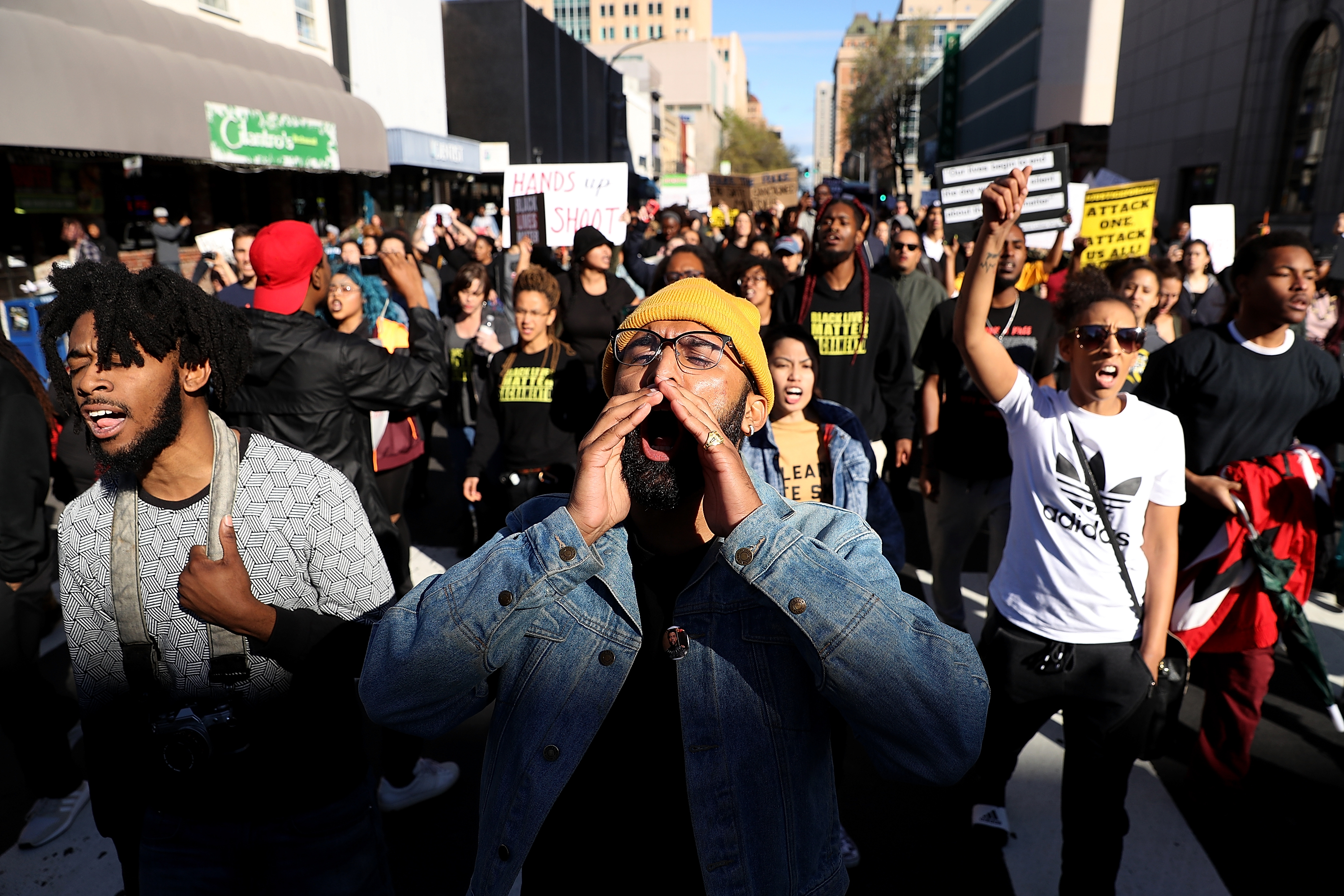 Black Live Matter protesters march during a demonstration on March 22, 2018 in Sacramento, California.