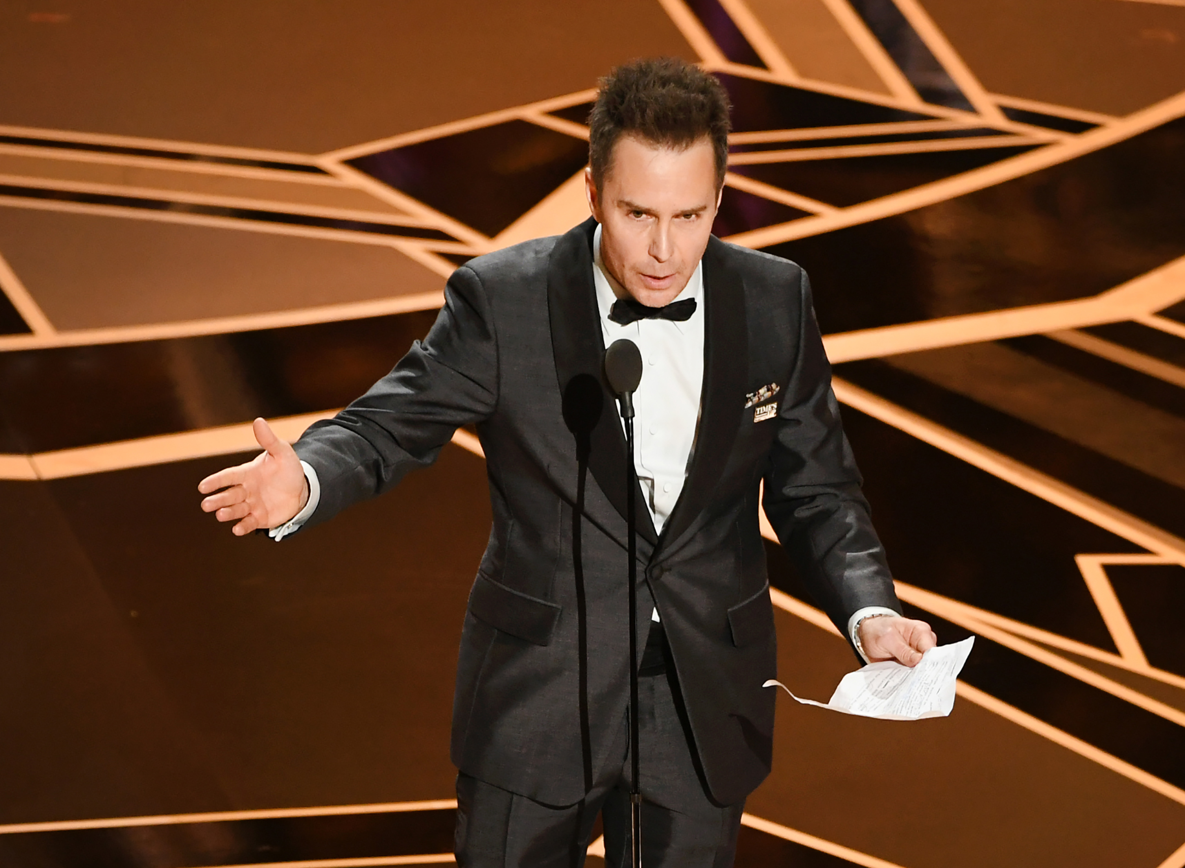 Actor Sam Rockwell accepts Best Suppoorting Actor for 'Three Billboards Outside Ebbing, Missouri' onstage at the 90th Annual Academy Awards at the Dolby Theatre at Hollywood & Highland Center on March 4, 2018 in Hollywood.