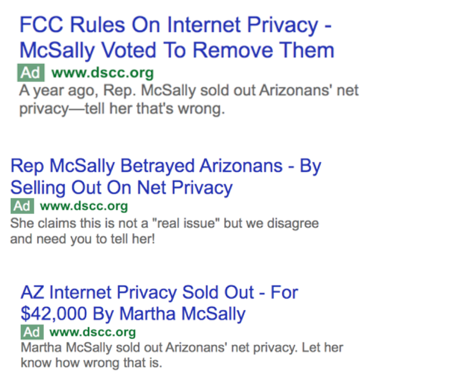 The DSCC has launched a slew of ads on Google highlighting her vote for rolling back internet privacy protections.