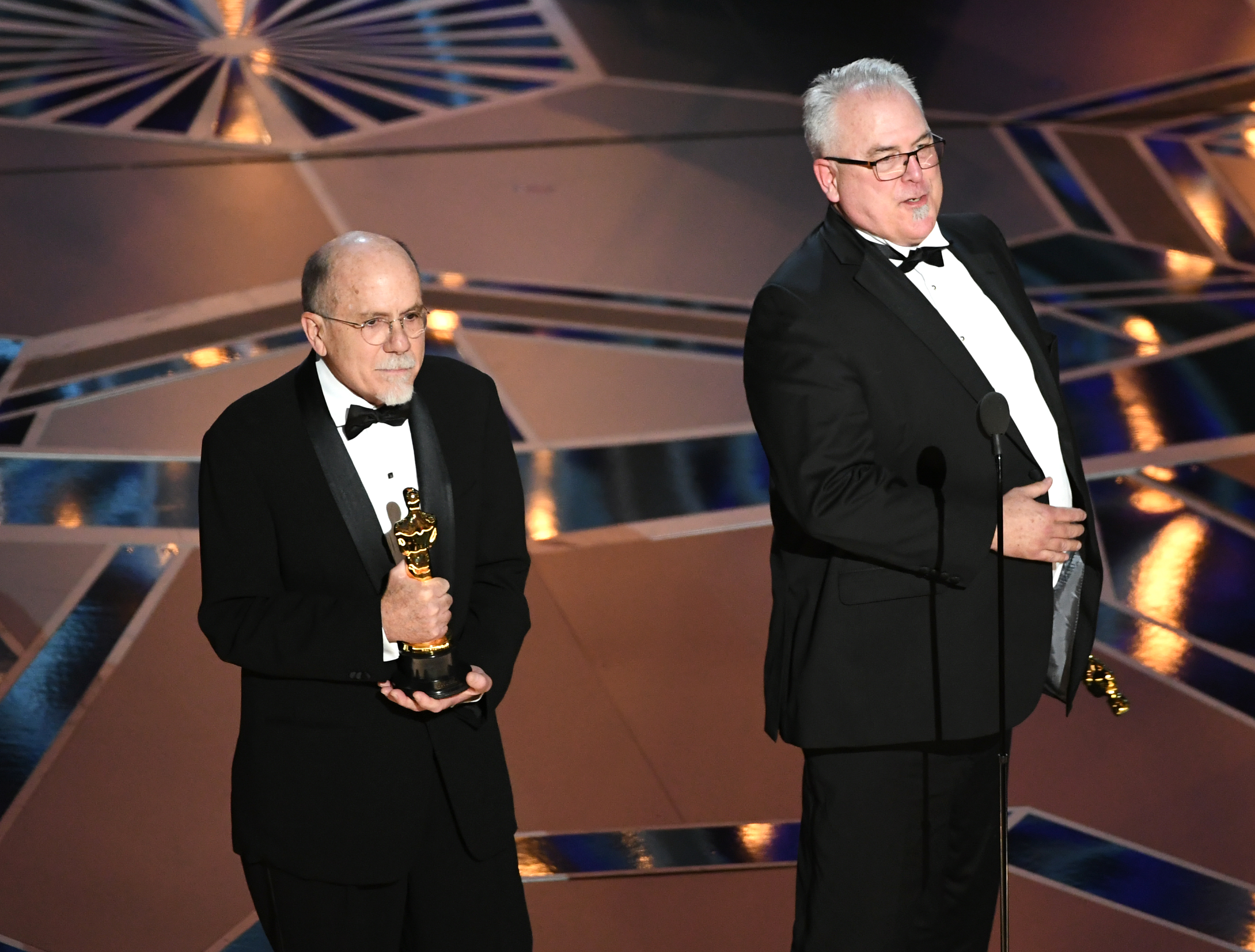 Sound designers Richard King and Alex Gibson accept Best Sound Editing for 'Dunkirk' onstage during the 90th Annual Academy Awards at the Dolby Theatre at Hollywood & Highland Center on March 4, 2018 in Hollywood.