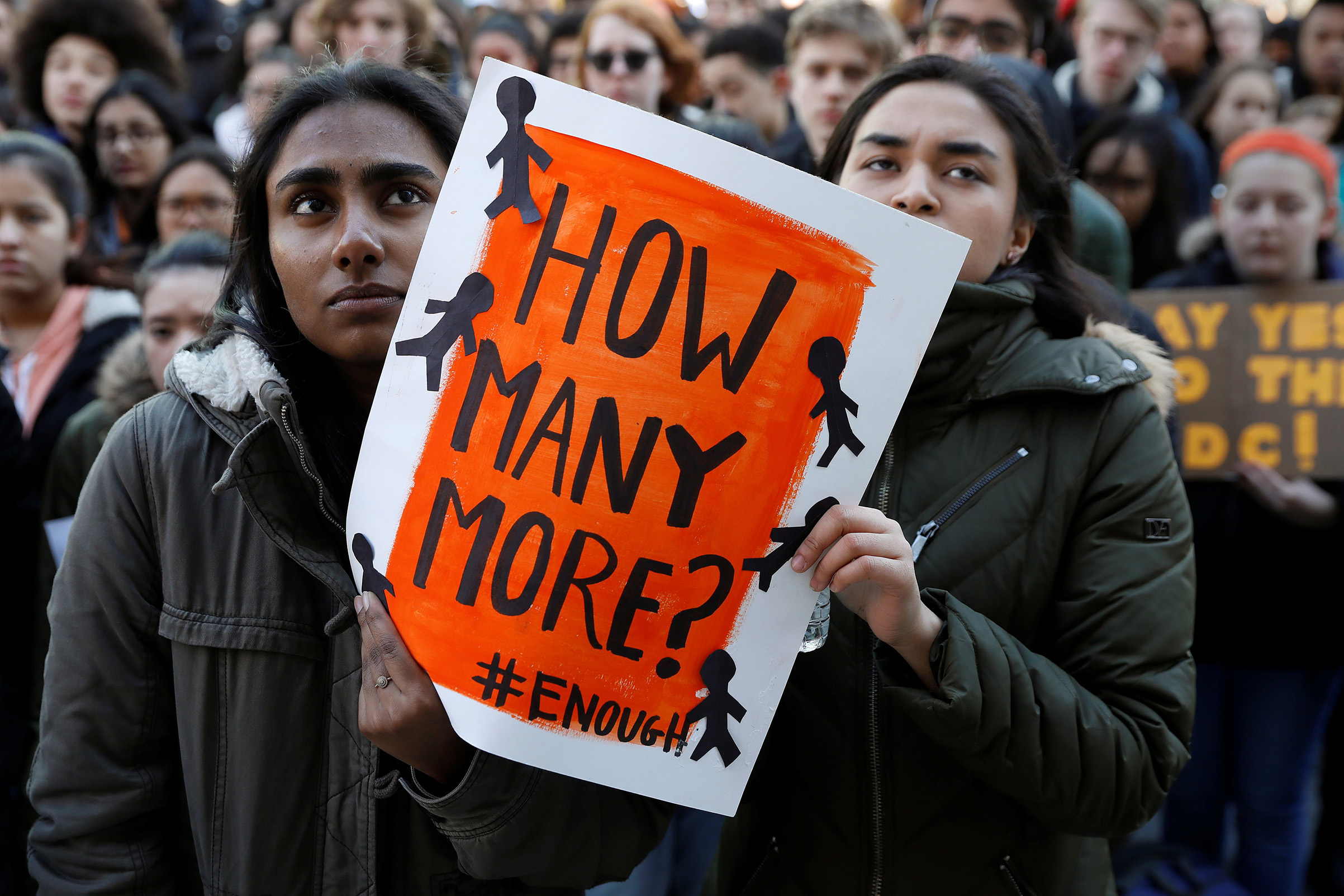 Students participate in a march in support of the National School Walkout in the Queens borough of New York City, on March 14, 2018.