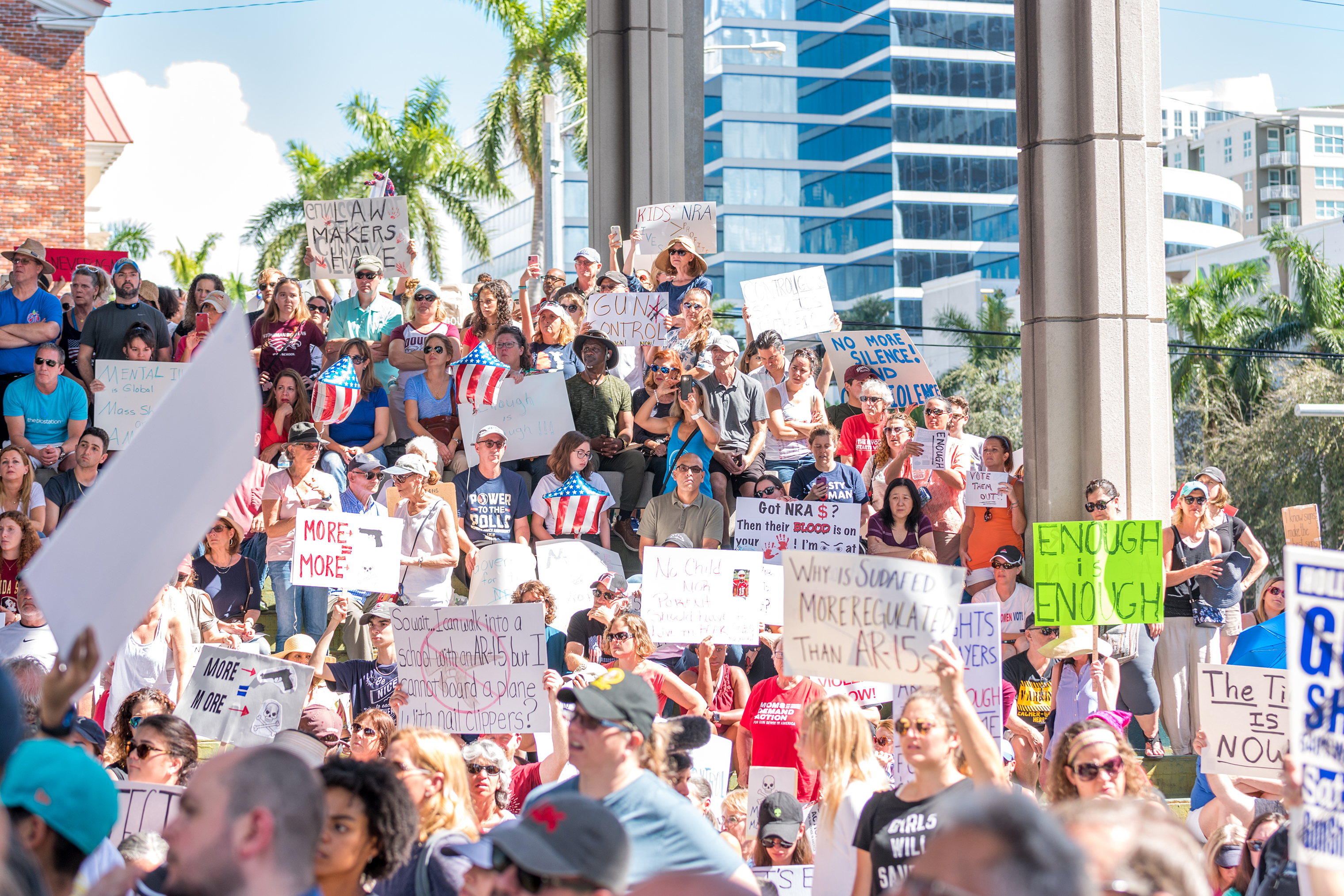 A Feb. 17 rally for gun control, held in Fort Lauderdale three days after the Parkland shooting, drew a crowd of thousands.