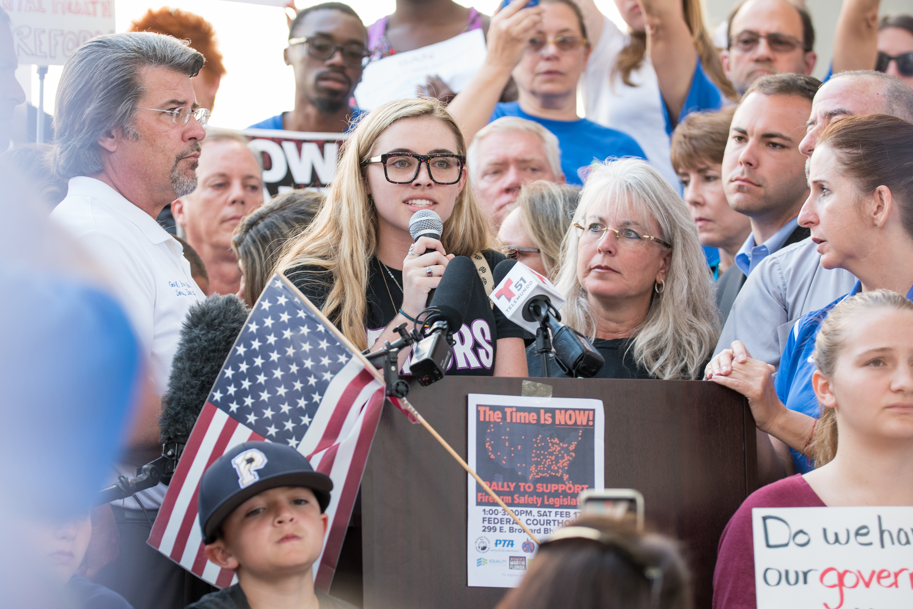 Stoneman Douglas student Delaney Tarr speaks during the Feb. 17 rally:  Because of these gun laws, people that I know, people that I love, have died, and I will never be able to see them again.