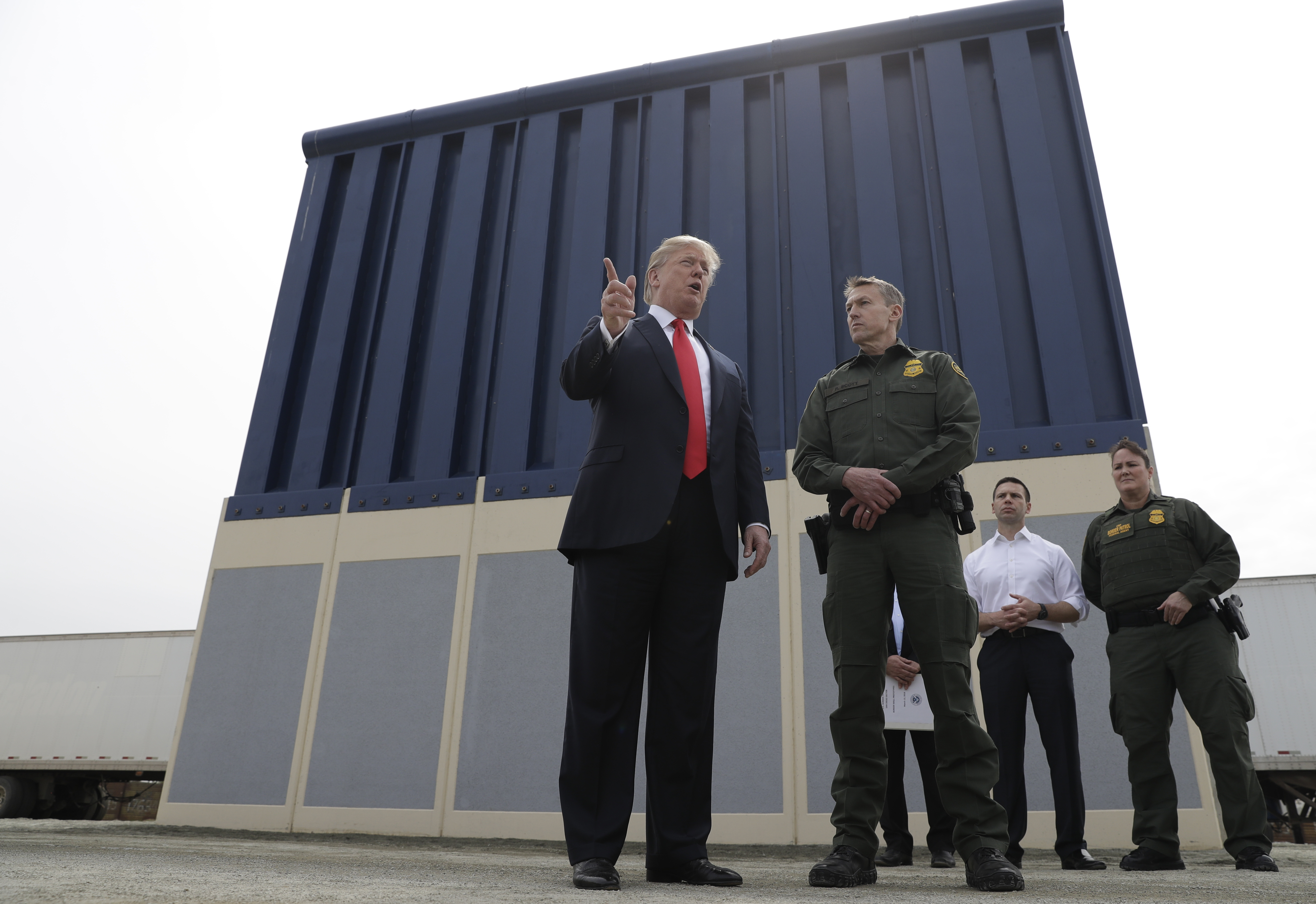 President Trump reviews border wall prototypes on March 13, 2018, in San Diego