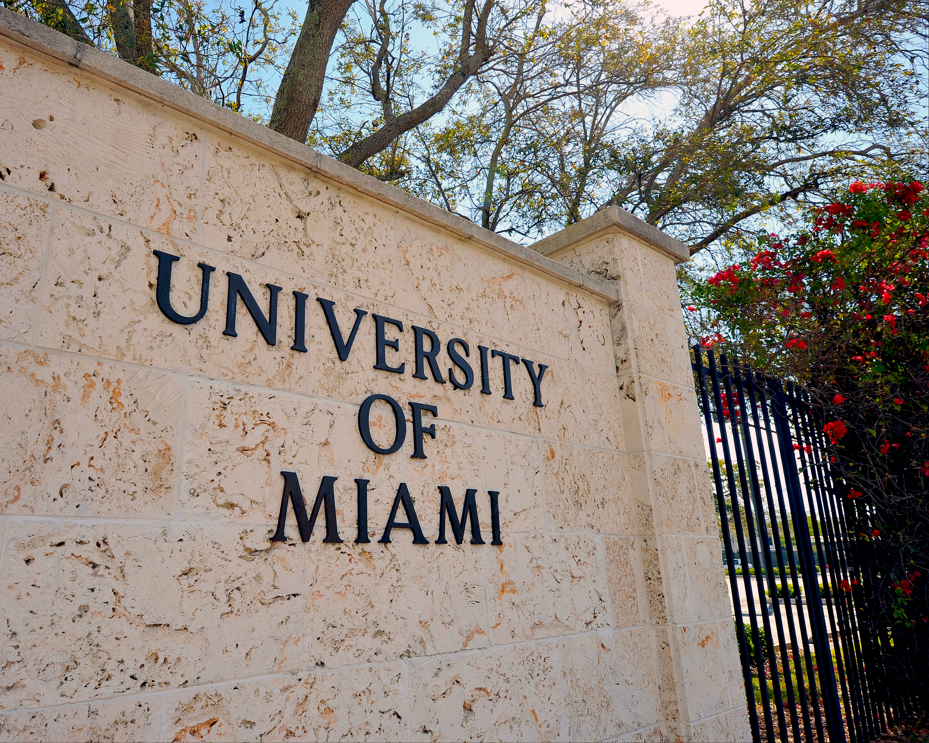 A view of a University of Miami entrance sign is seen on campus of the Miami Hurricanes on Feb. 9, 2013 in Coral Gables, Florida.