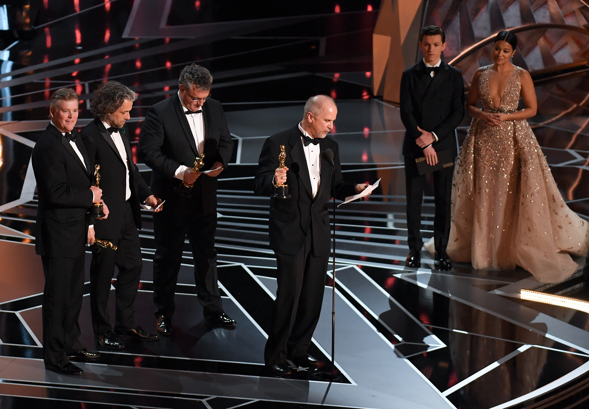 John Nelson, Paul Lambert, Richard R. Hoover, Gerd Nefzer accept the award for Visual Effects for 'Blade Runner 2049', at the 90th Annual Academy Awards.