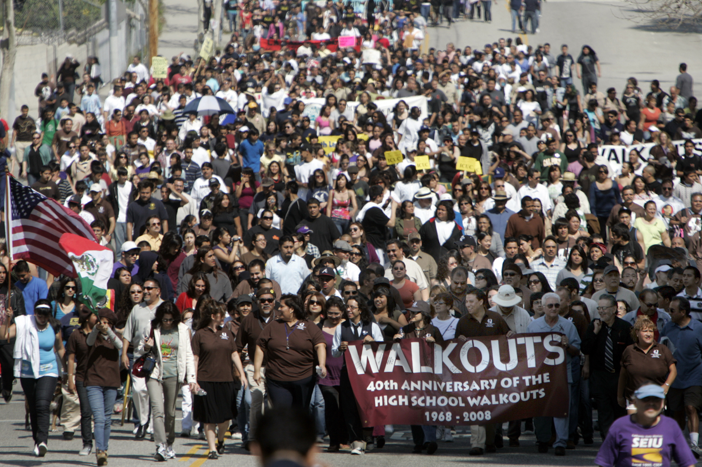 On its 40th anniversary, more than a thousand marchers turned to march from Lincoln High School to commemorate the 1968 East LA school walkout that launched the Chicano Civil Rights Movement.