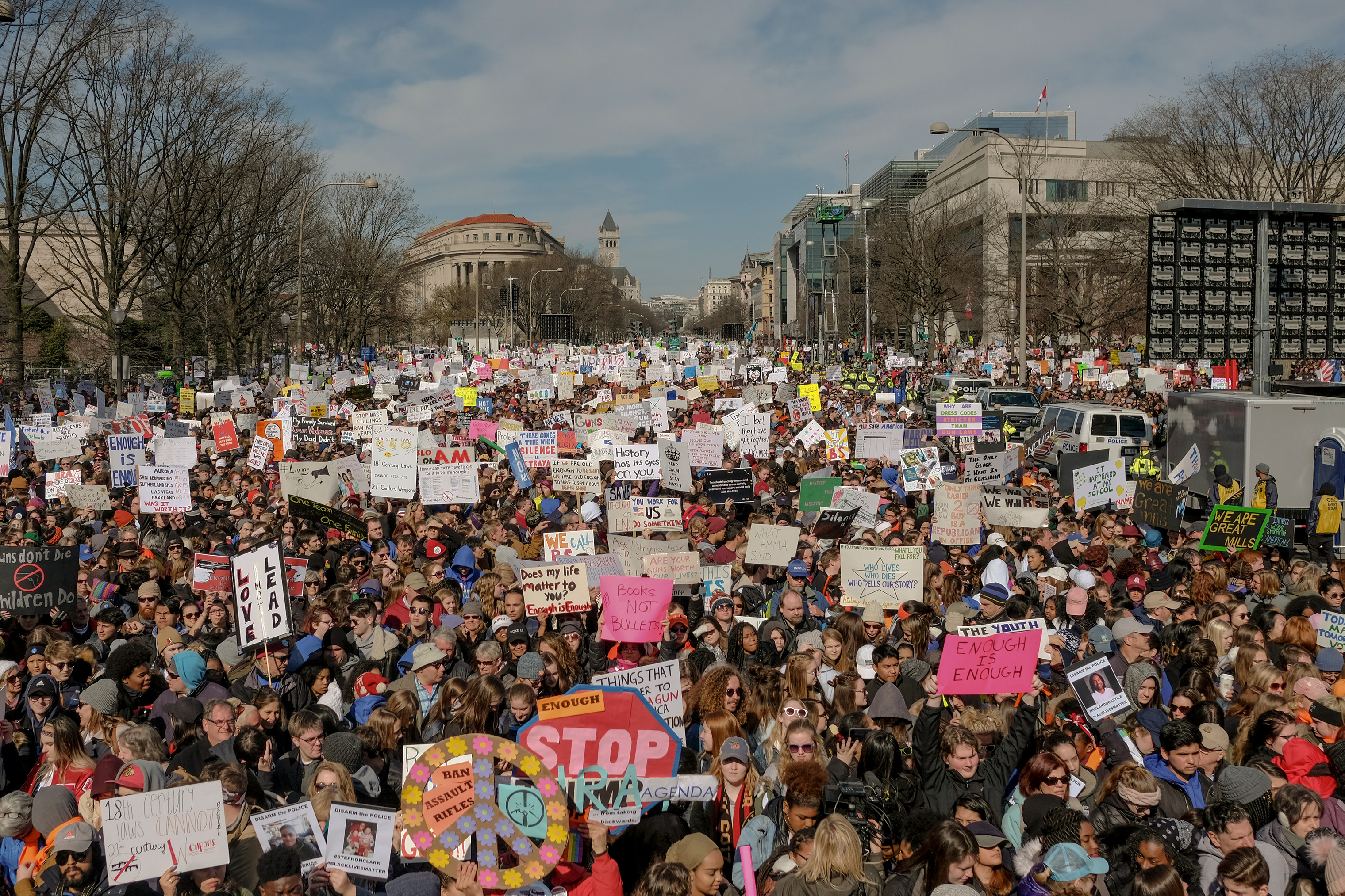 Demonstrators fill Pennsylvania Avenue as the March For Our Lives gets underway in Washington, D.C., on March 24, 2018.