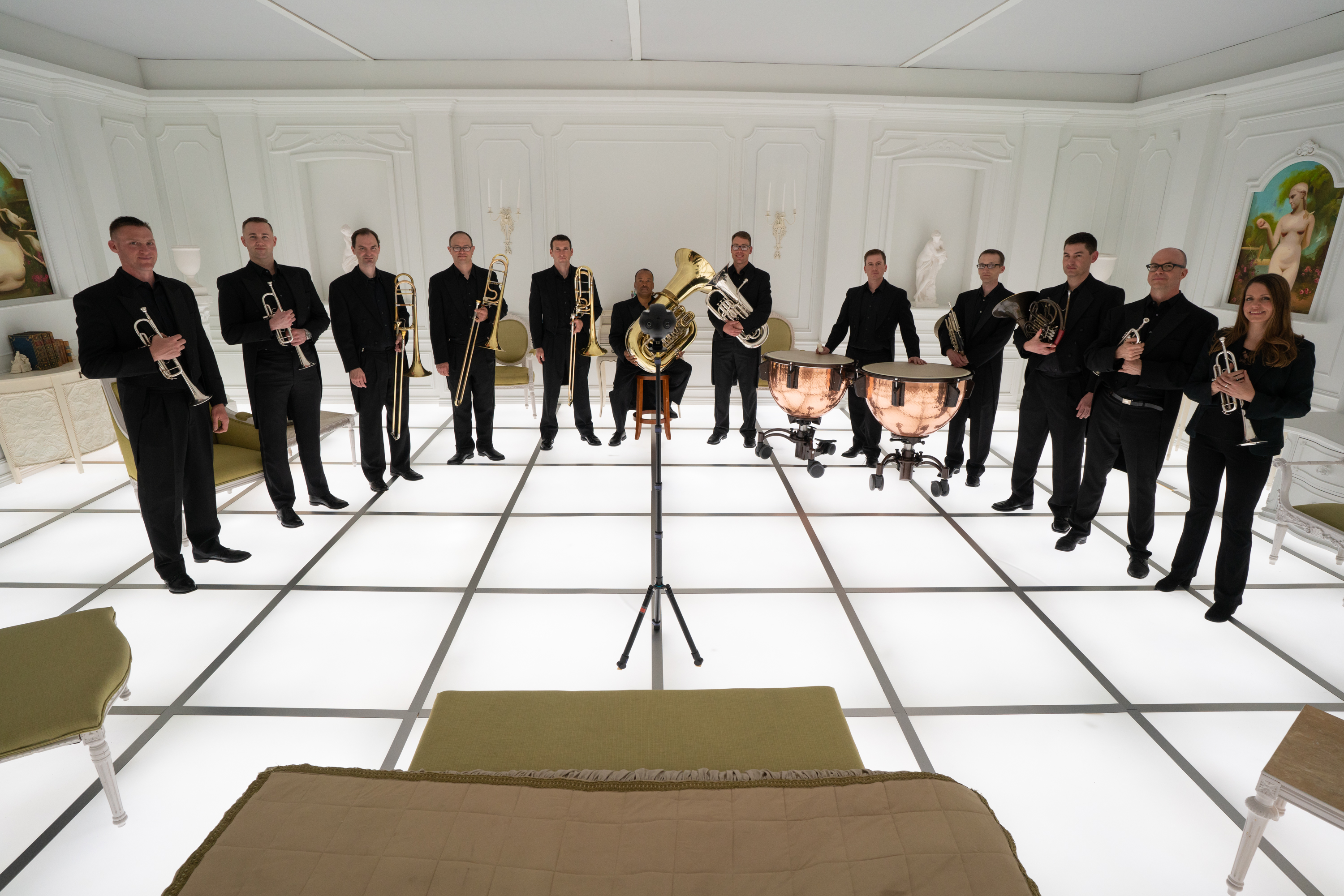 """The Barclay Brass band inside the 2001: A Space Odyssey Immersive Art Exhibit  The Barmecide Feast by Simon Birch"""" at the National Air and Space Museum in Washington, D.C. on April 24, 2018."""