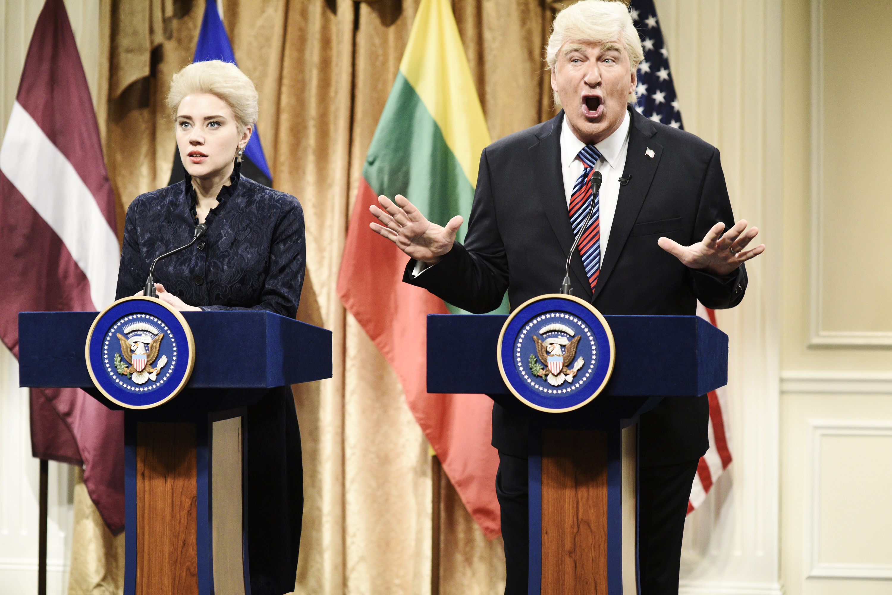 Pictured: (l-r) Kate McKinnon as Dalia Grybauskait, President of Lithuania, Alec Baldwin as President Donald Trump during 'Trump Baltic States Cold Open' in Studio 8H on Saturday, April 7, 2018.