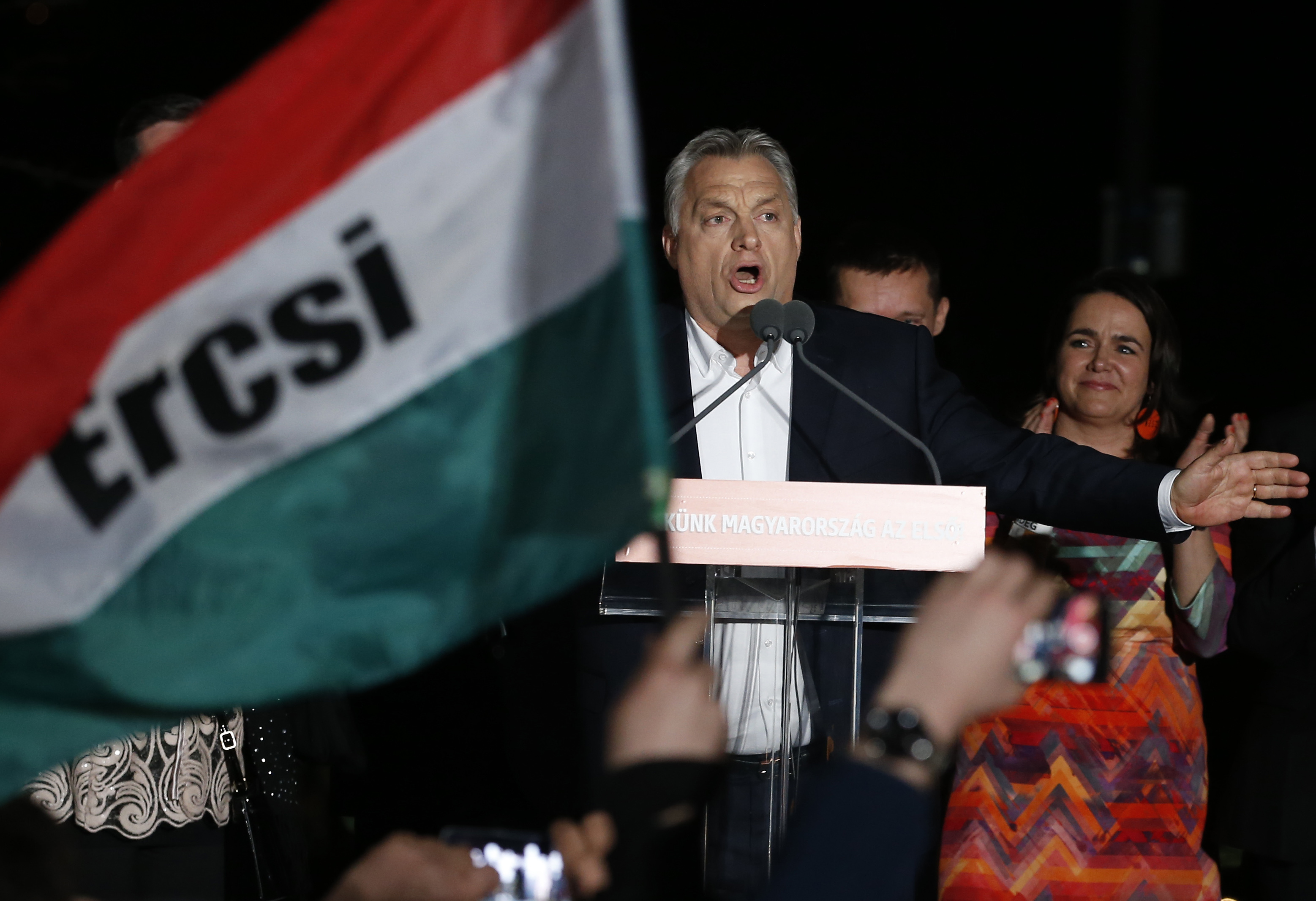 Hungarian Prime Minister Viktor Orban addresses supporters in Budapest, Hungary as preliminary voting results saw him win a third consecutive term and his Fidesz party seize on a parliamentary supermajority on April 8, 2018.