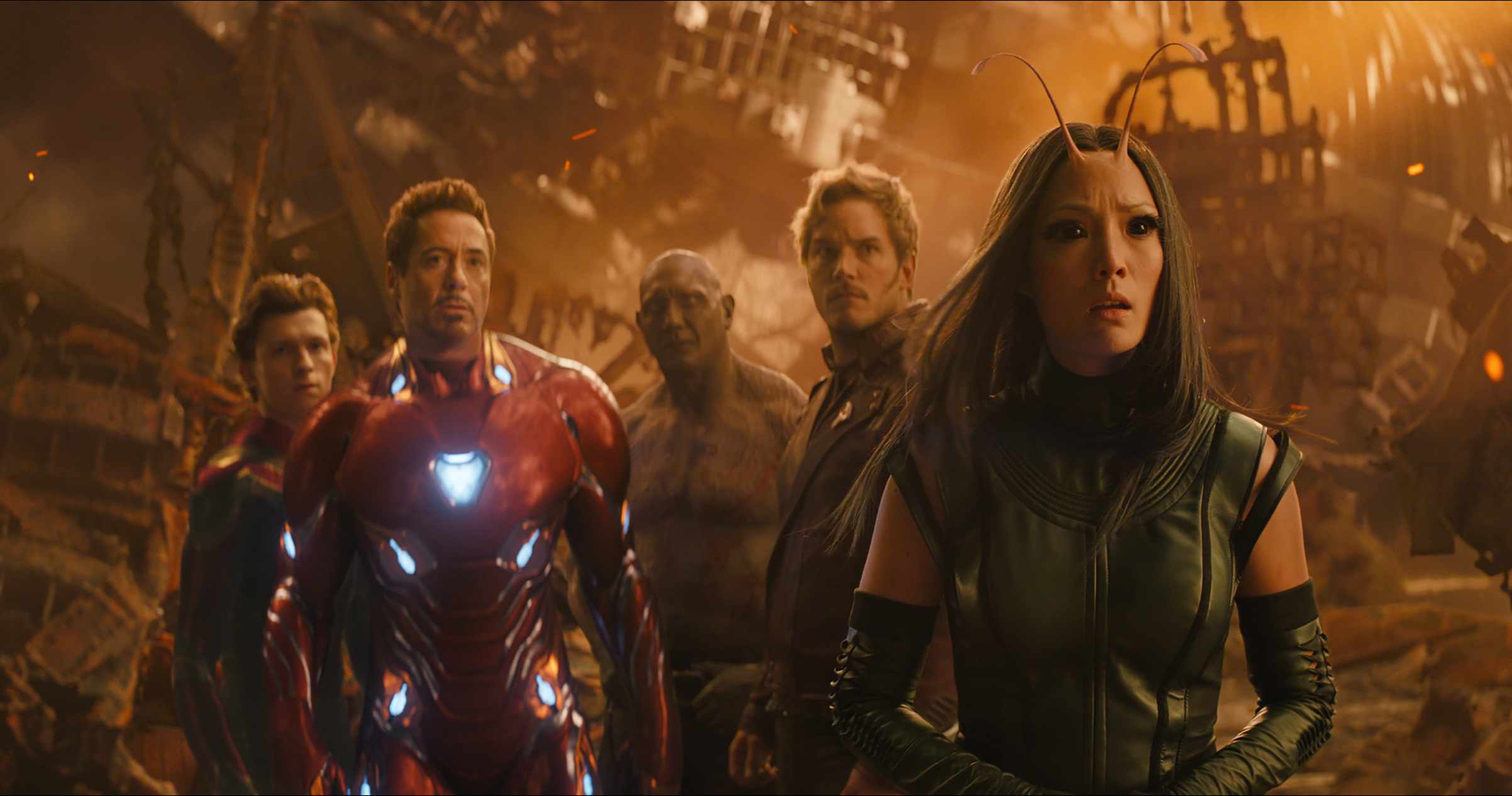 Left to Right: Spider-Man/Peter Parker (Tom Holland), Iron Man/Tony Stark (Robert Downey Jr.), Drax (Dave Bautista), Star-Lord/Peter Quill (Chris Pratt) and Mantis (Pom Klementieff) in Avengers: Infinity War