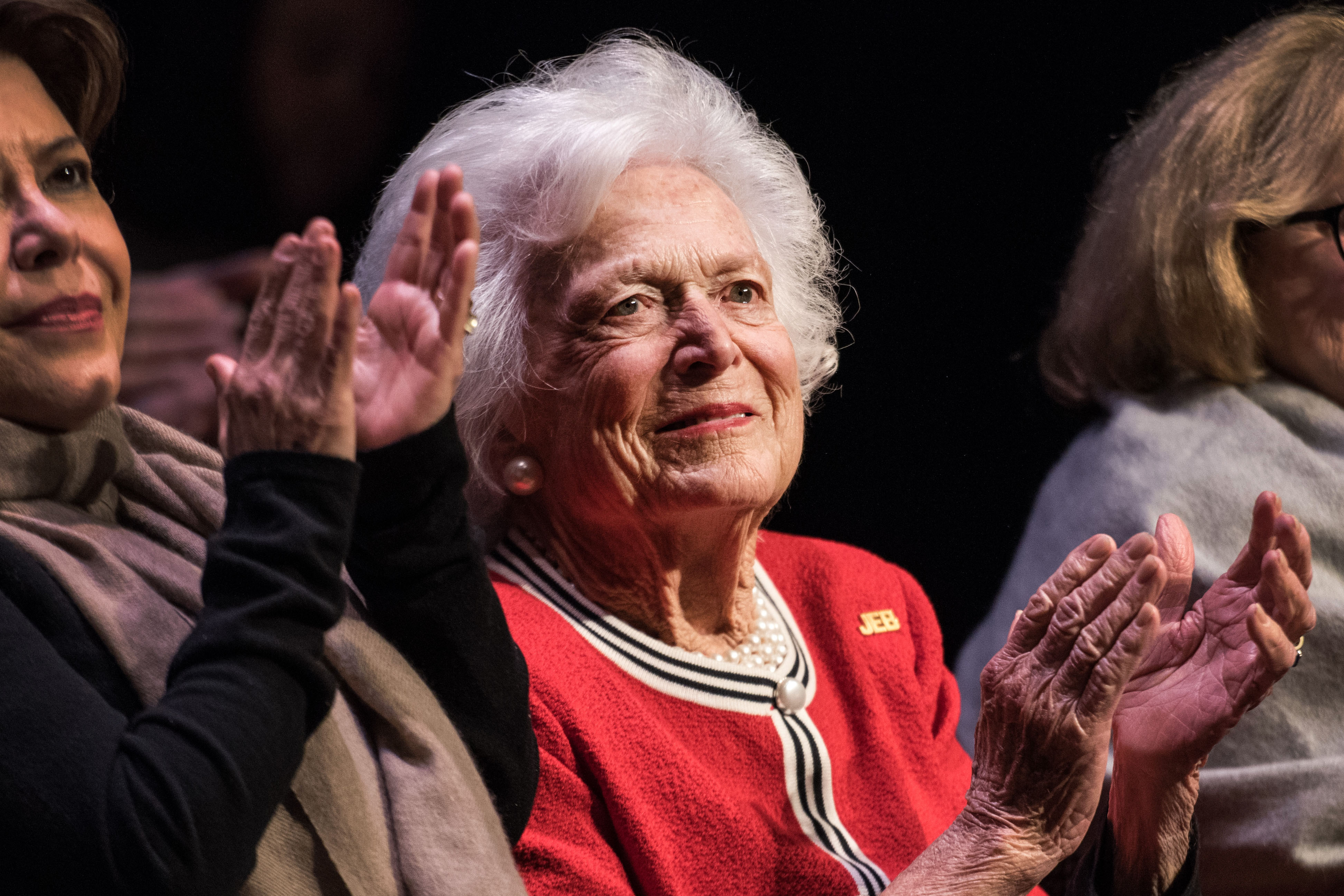Former first lady Mrs. Barbara Bush applauds for Republican presidential candidate Jeb Bush during a campaign event in Greenville, S.C. on Feb. 19, 2016.