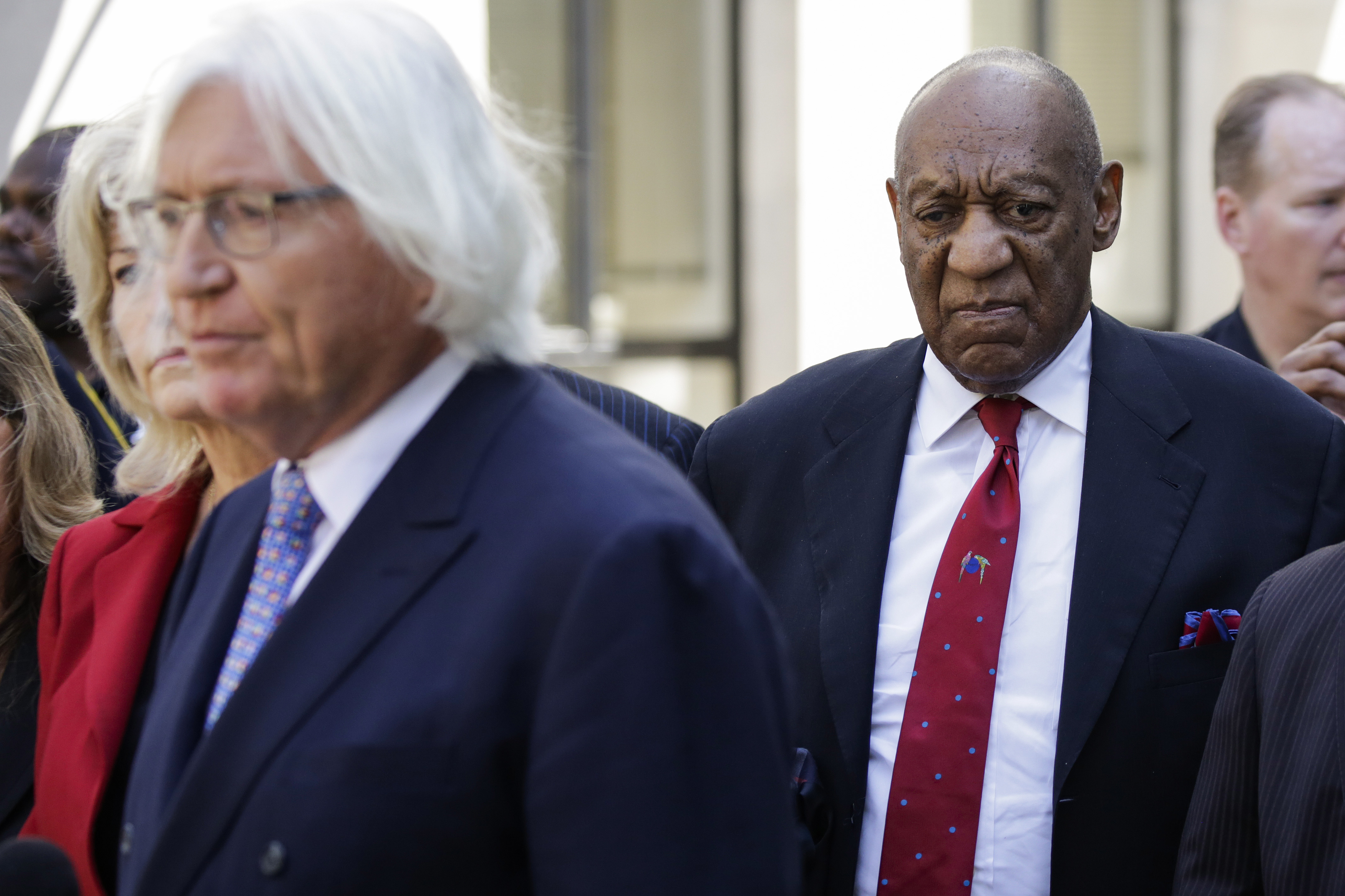 Actor and comedian Bill Cosby comes out of the courthouse after being found guilty in the retrial of his sexual assault case at the Montgomery County Courthouse in Norristown, Pennsylvania on April 26, 2018.