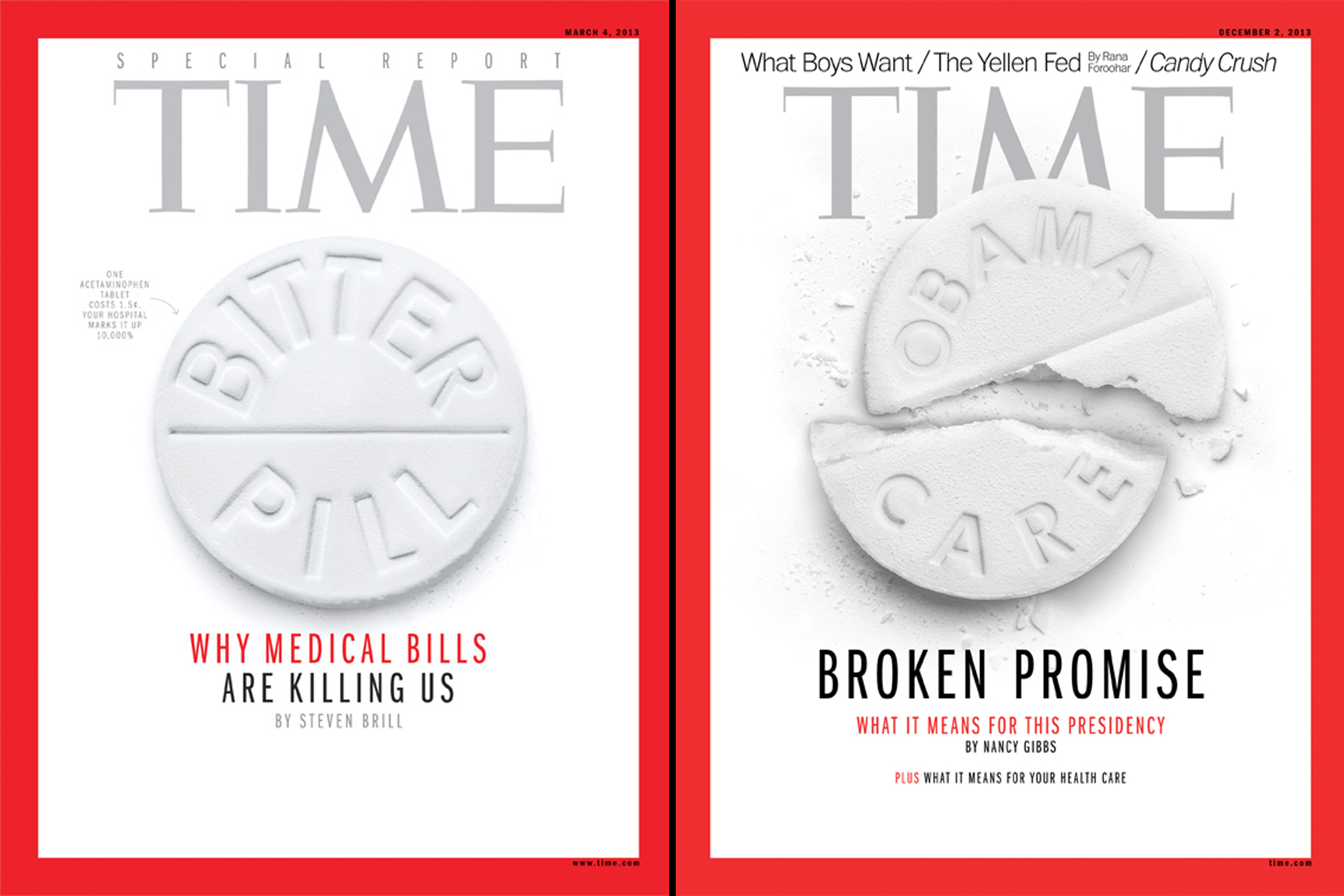 Bitter Pill,  March 4, 2013;  Obama Care,  Jan. 19, 2015