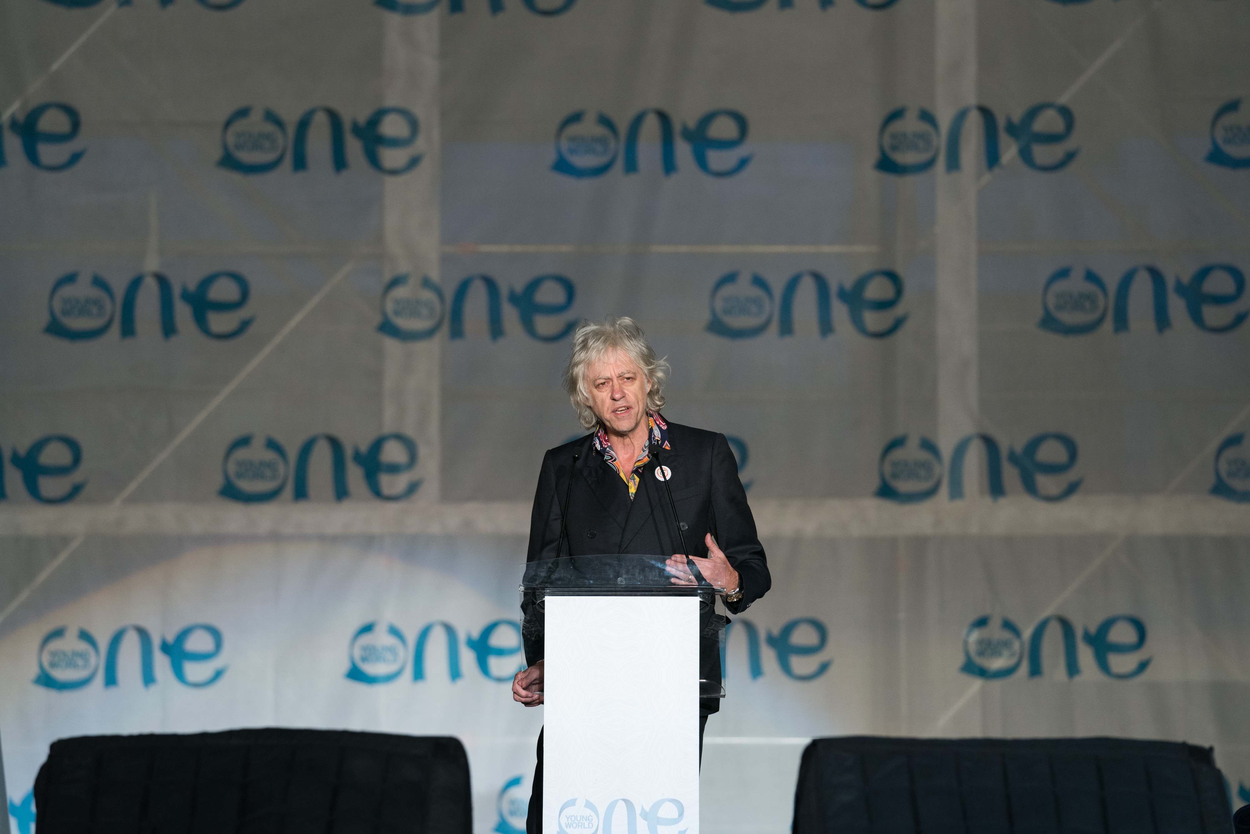 Bob Geldof speaks at the One Young World Summit in Bogota, Colombia in October 2017.