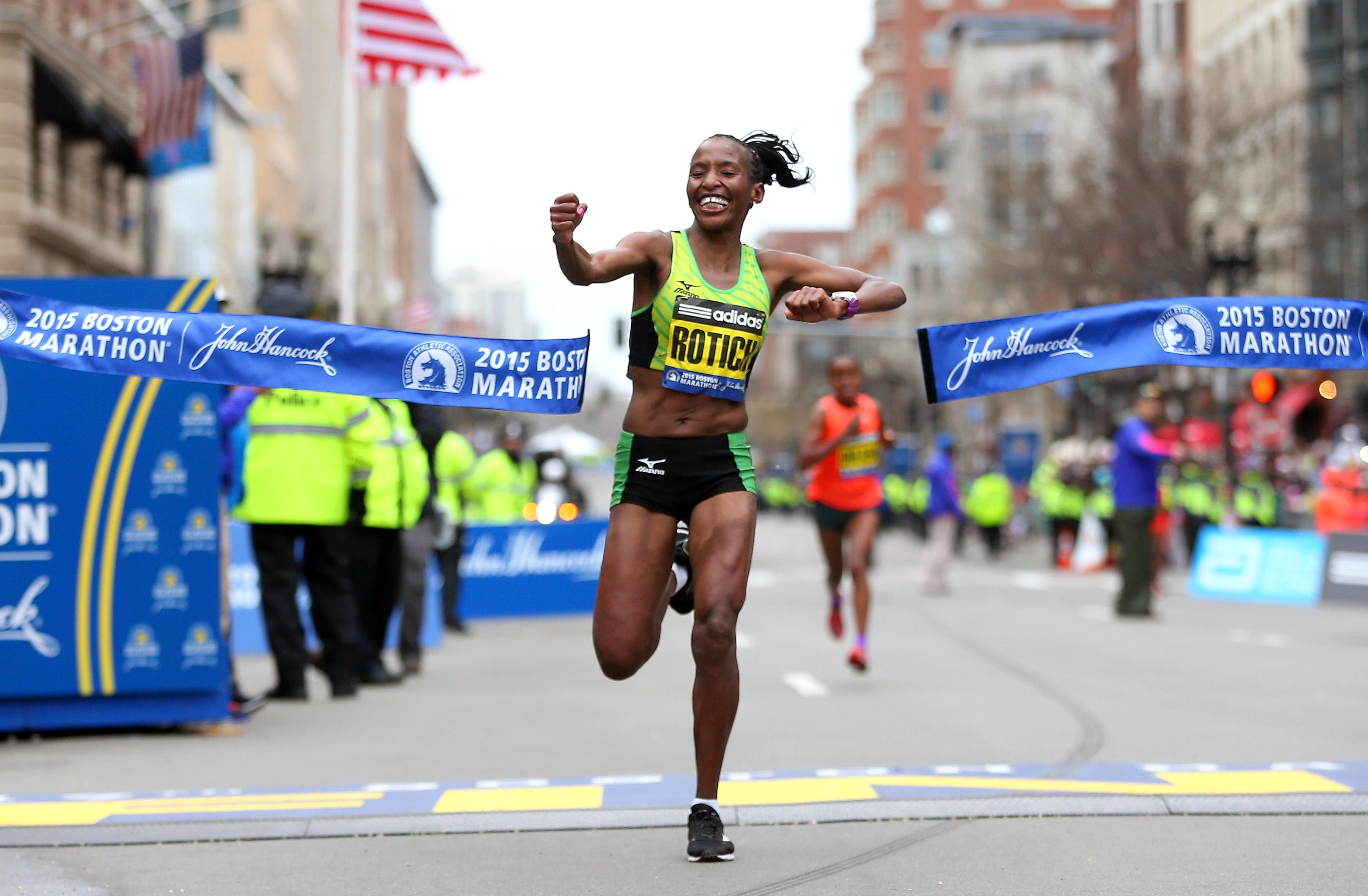 Caroline Rotich of Kenya crosses the finish line to win the 119th Boston Marathon on April 20, 2015 in Boston, Massachusetts.