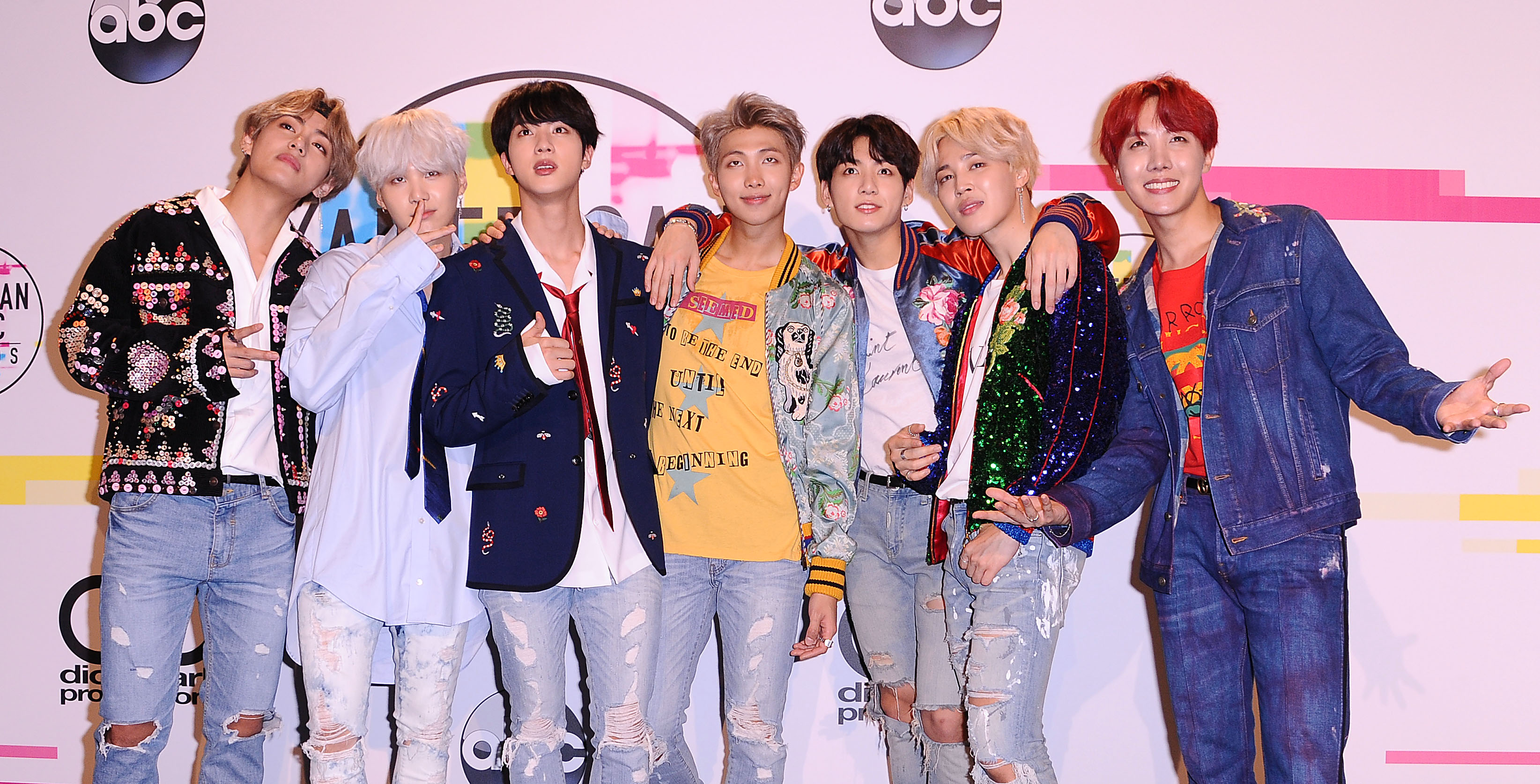 BTS poses in the press room at the 2017 American Music Awards at Microsoft Theater on November 19, 2017 in Los Angeles, California.