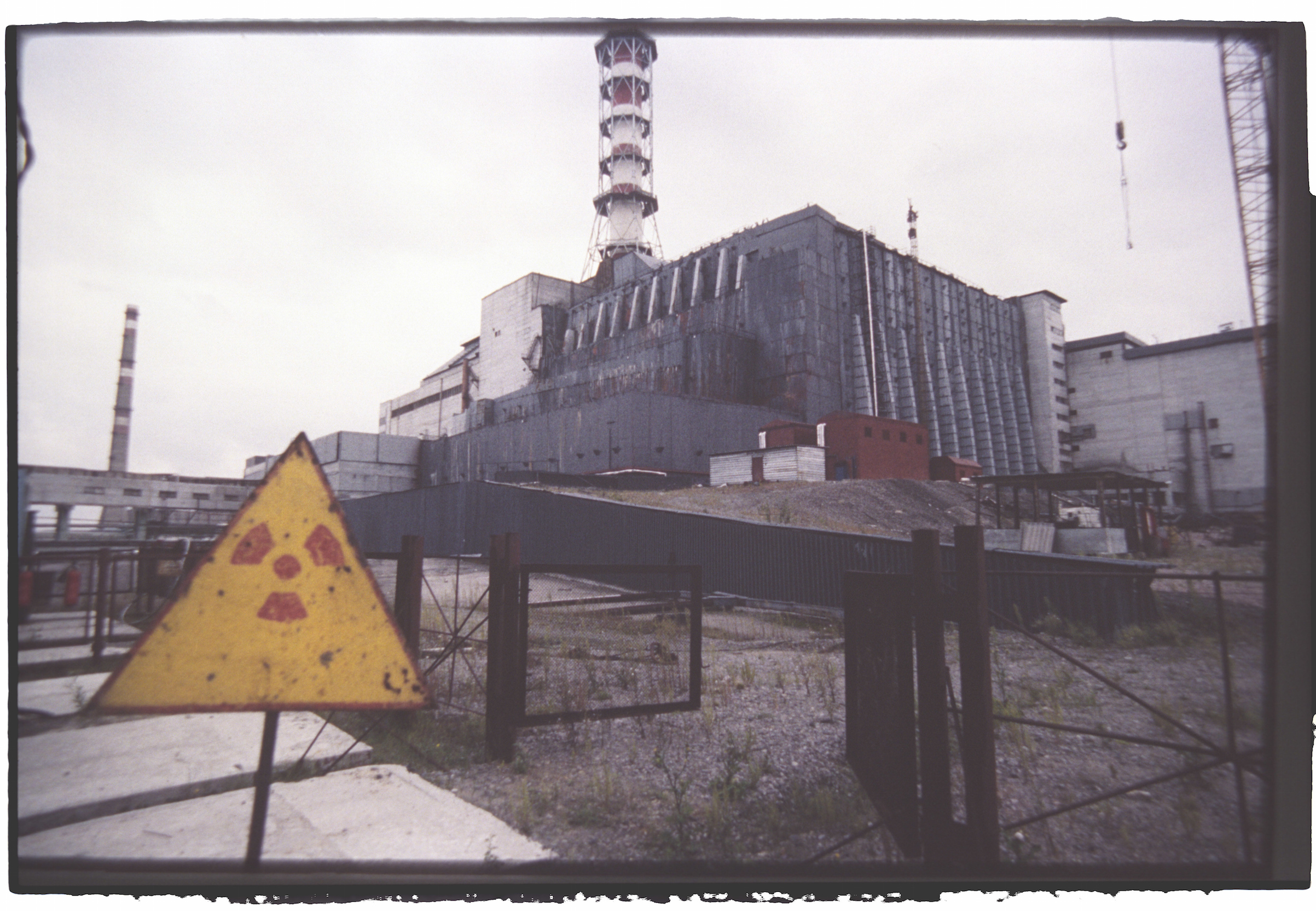 Exterior view of the sarcophagus built on the reactor at Chernobyl nuclear plant. Several years after its construction, work still remained to be carried out on the site.