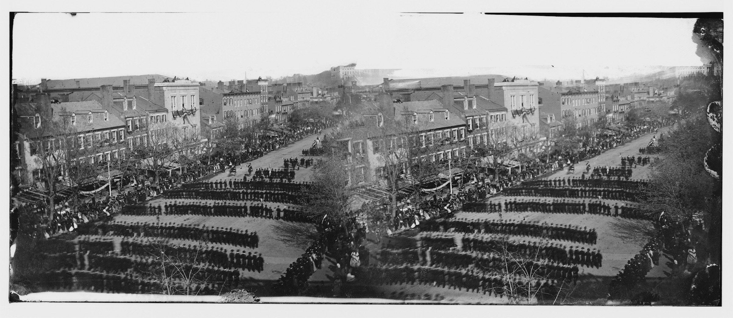 In this image from the U.S. Library of Congress, the funeral procession for U.S. President Abraham Lincoln moves down Pennsylvania Avenue on April 19, 1865, in Washington, D.C. The absence of Lincoln was one of the factors that allowed Reconstruction to fail.