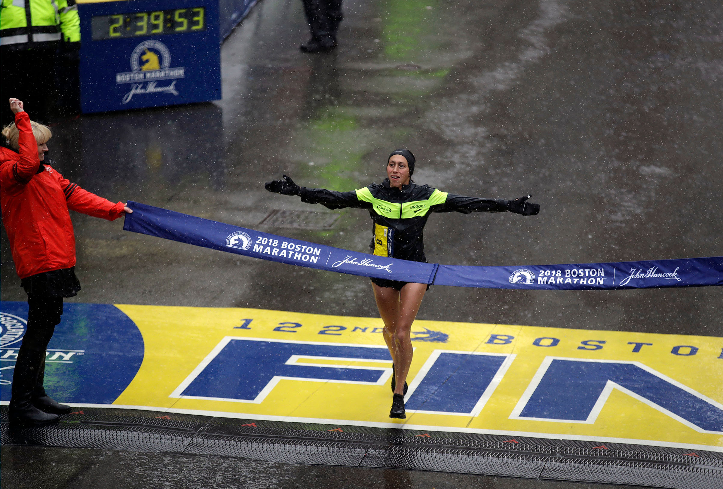 Desiree Linden, of Washington, Mich., wins the women's division of the 122nd Boston Marathon, in Boston on April 16, 2018.